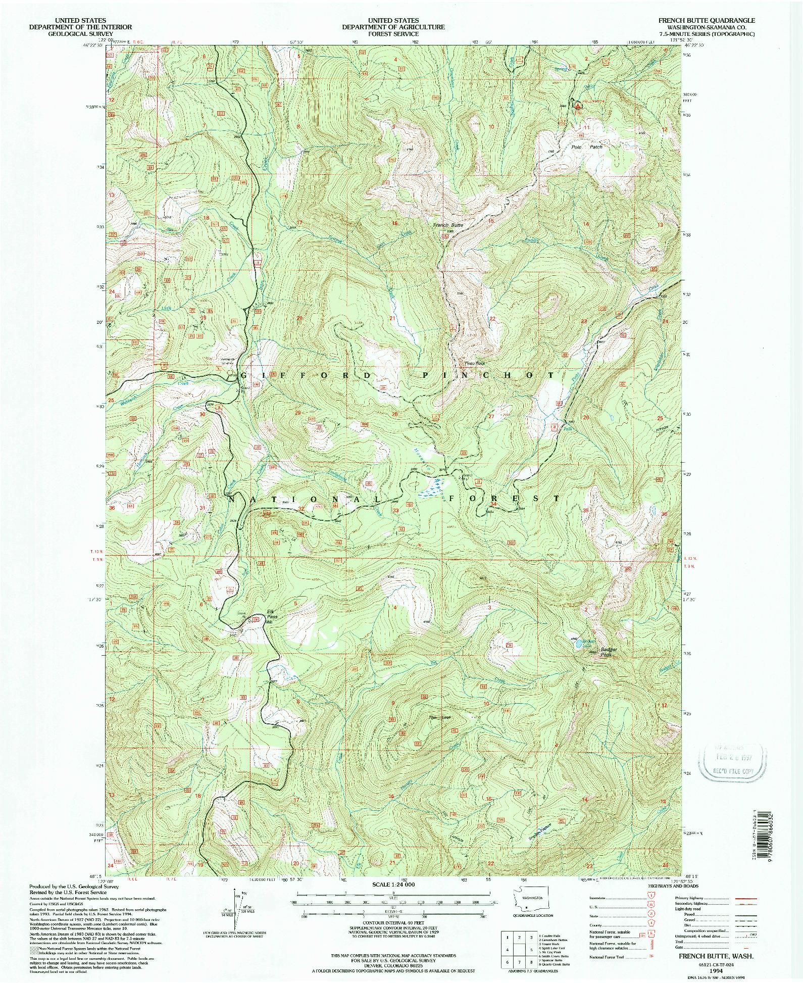 USGS 1:24000-SCALE QUADRANGLE FOR FRENCH BUTTE, WA 1994