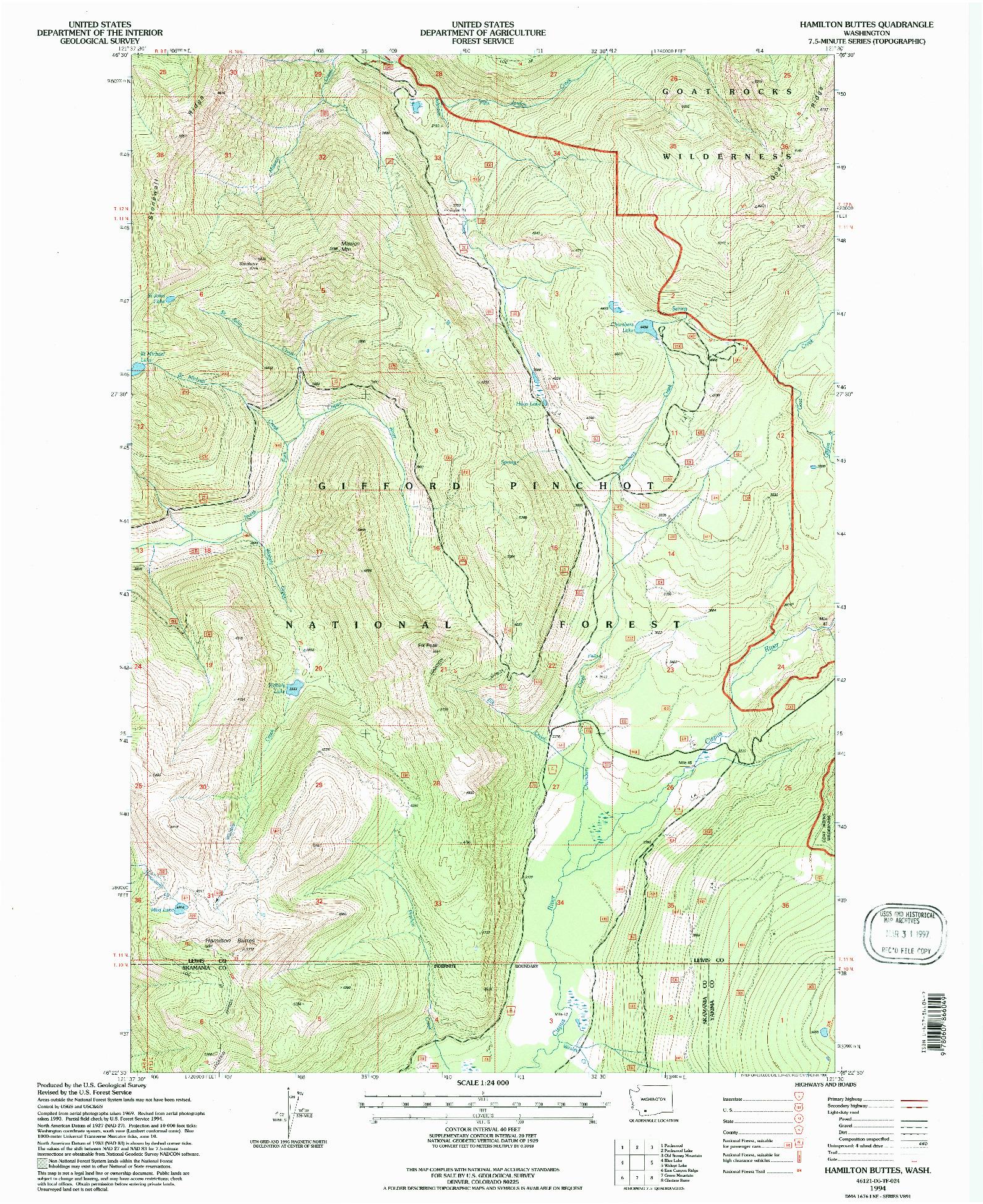 USGS 1:24000-SCALE QUADRANGLE FOR HAMILTON BUTTES, WA 1994