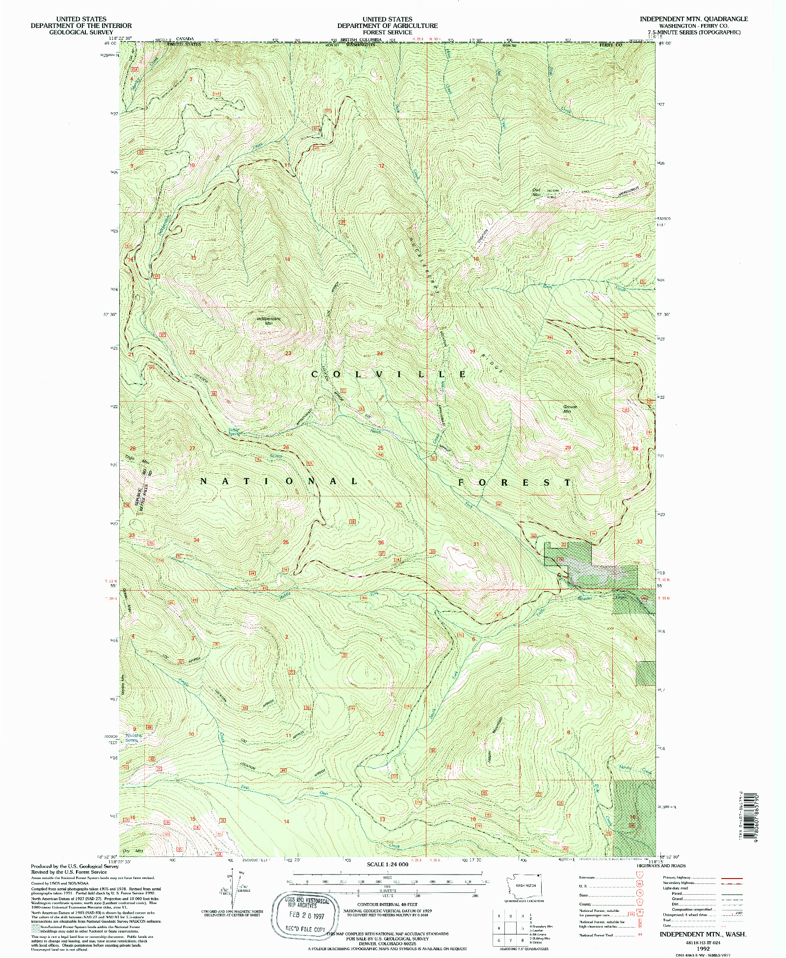 USGS 1:24000-SCALE QUADRANGLE FOR INDEPENDENT MTN, WA 1992