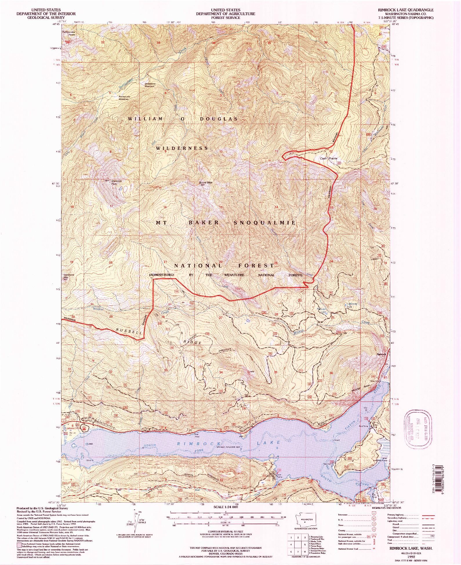 USGS 1:24000-SCALE QUADRANGLE FOR RIMROCK LAKE, WA 1992