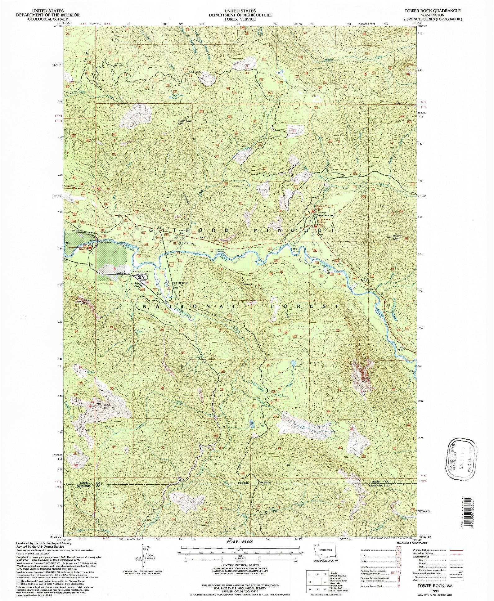 USGS 1:24000-SCALE QUADRANGLE FOR TOWER ROCK, WA 1994
