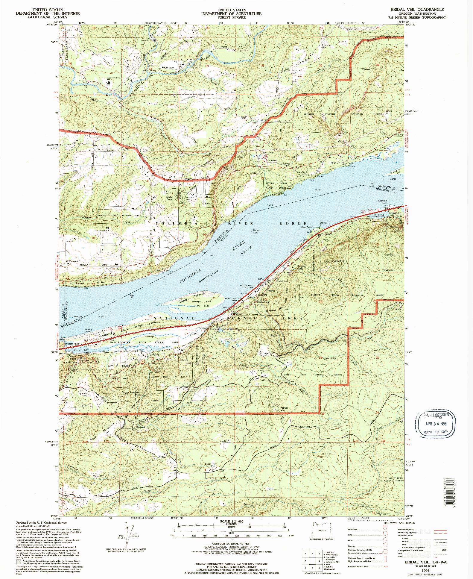 USGS 1:24000-SCALE QUADRANGLE FOR BRIDAL VEIL, OR 1994