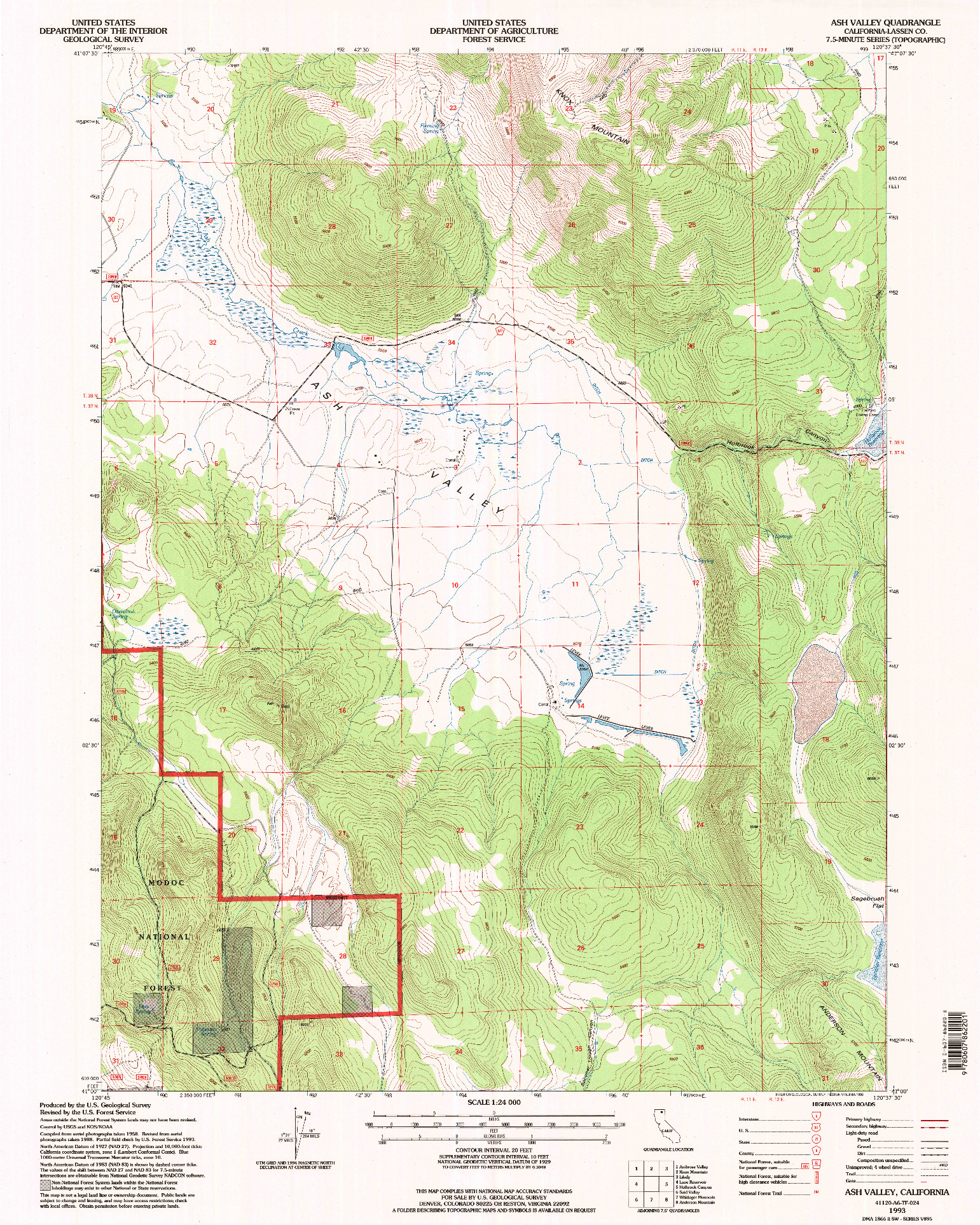 USGS 1:24000-SCALE QUADRANGLE FOR ASH VALLEY, CA 1993