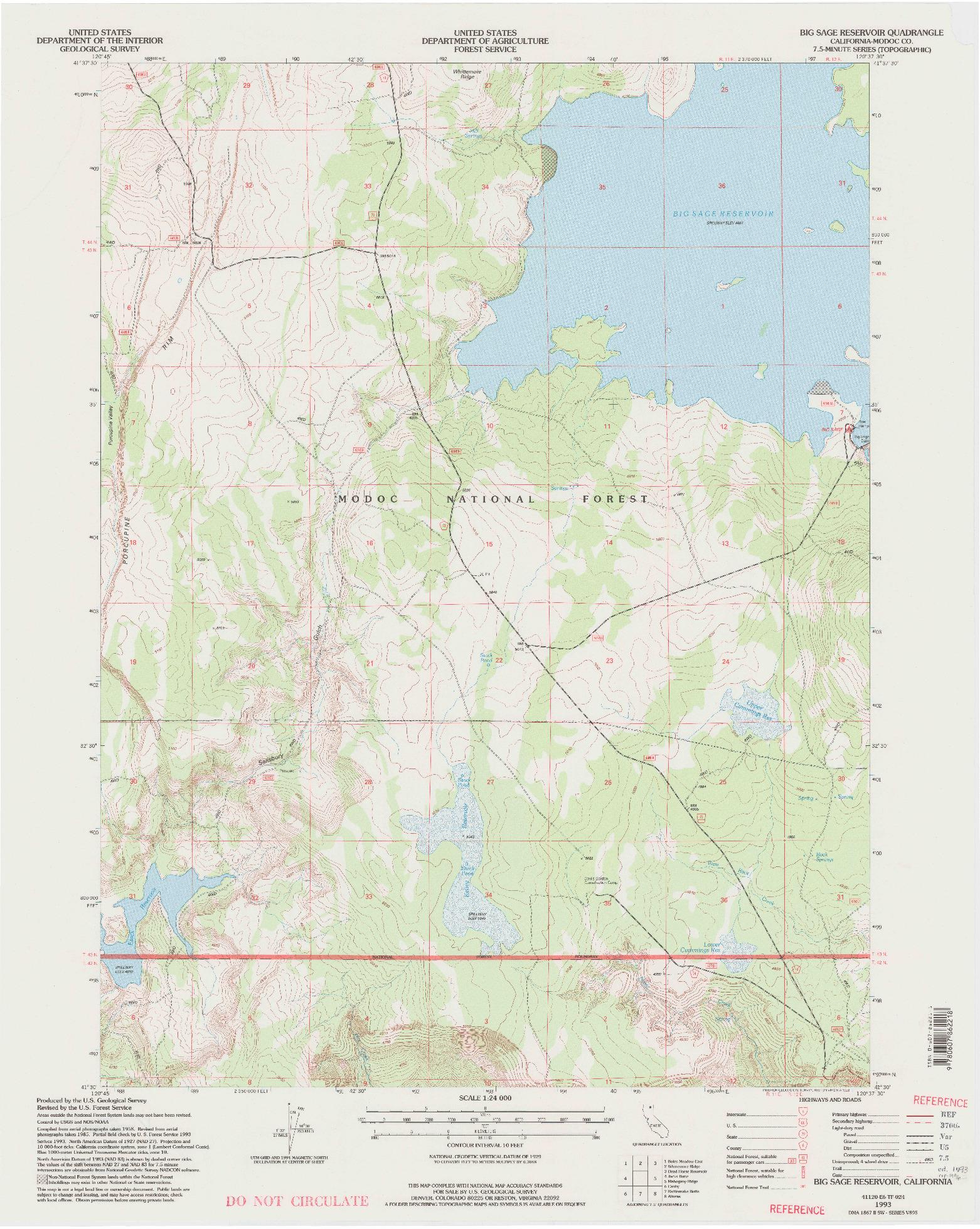 USGS 1:24000-SCALE QUADRANGLE FOR BIG SAGE RESERVOIR, CA 1993