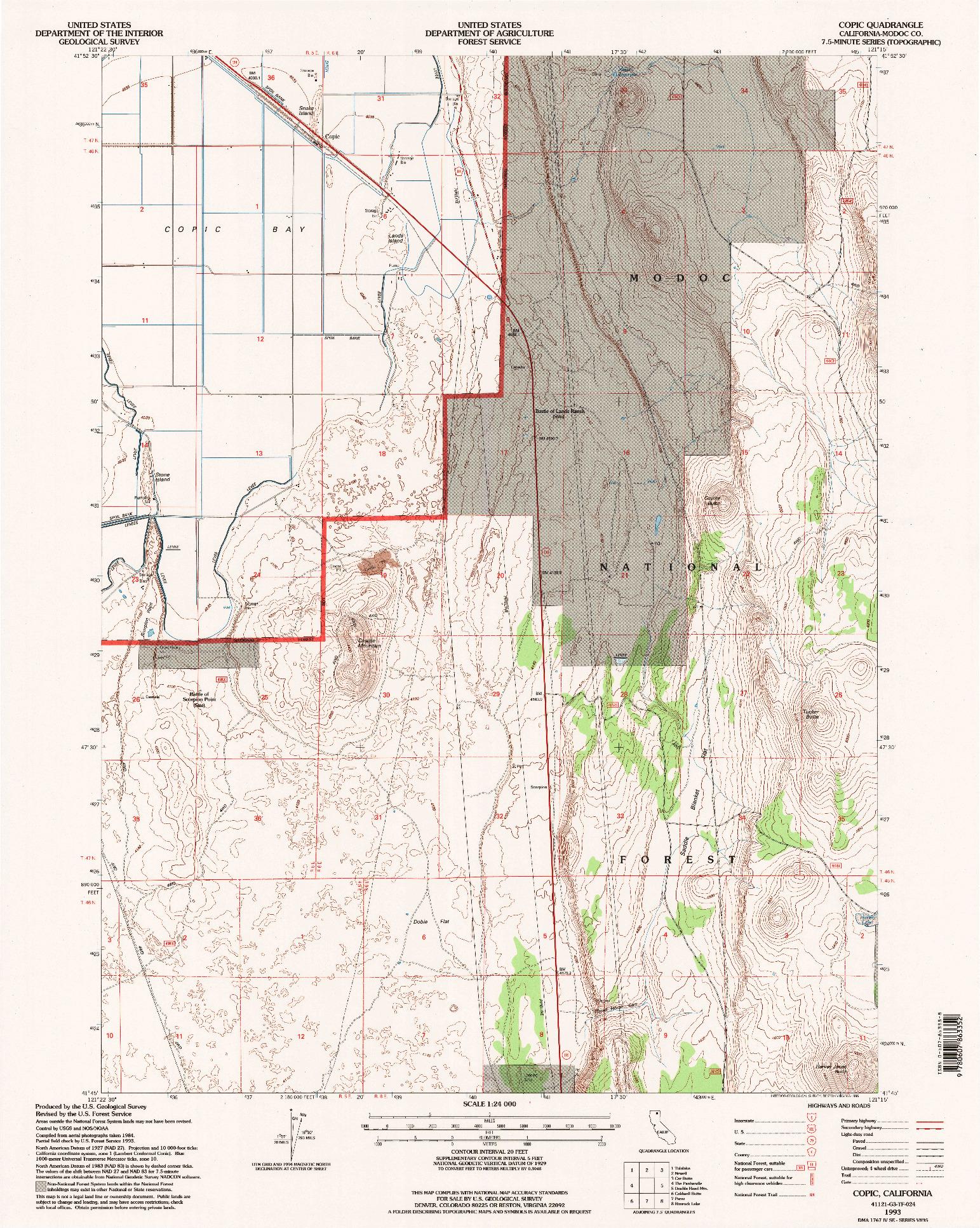 USGS 1:24000-SCALE QUADRANGLE FOR COPIC, CA 1993