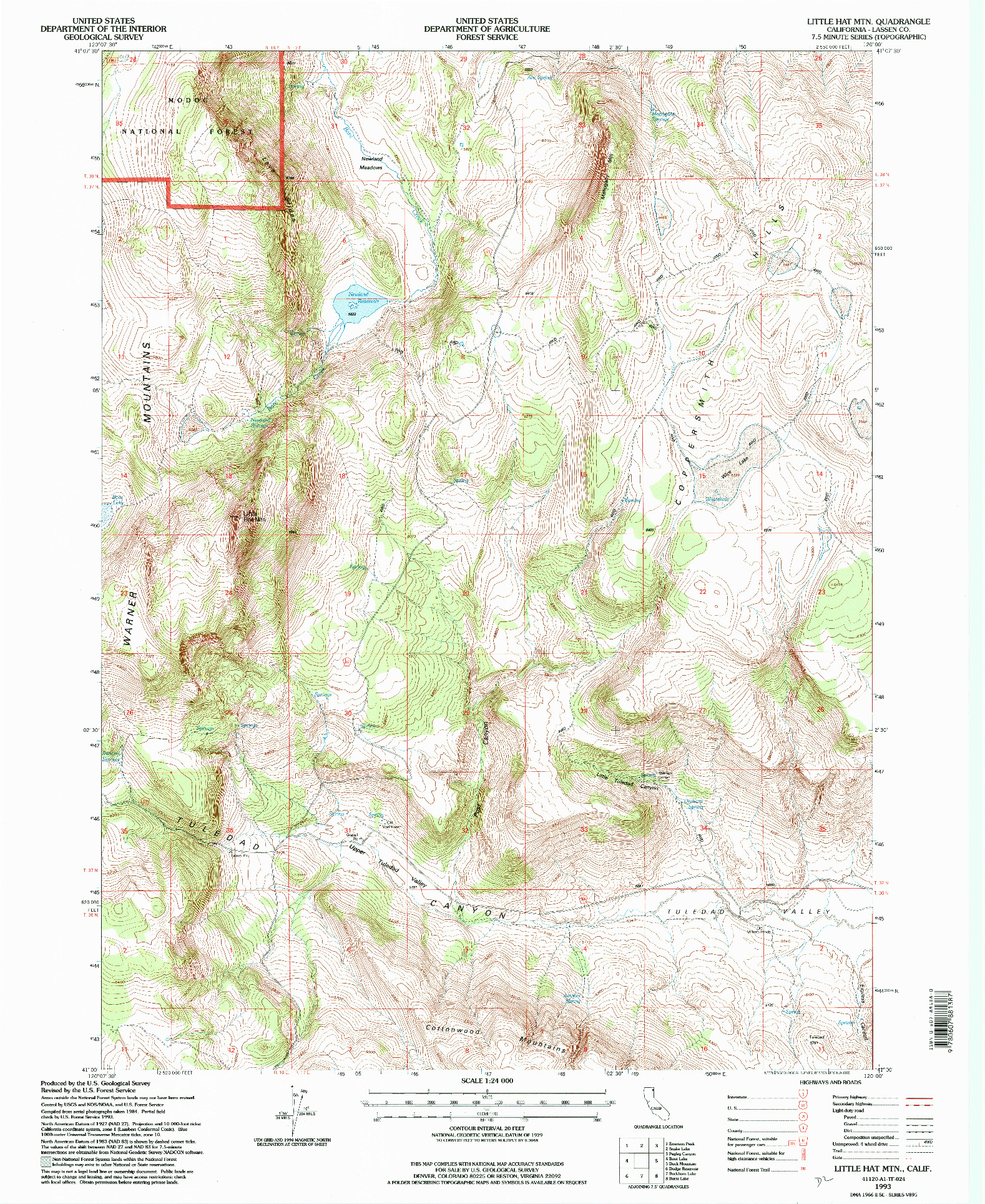 USGS 1:24000-SCALE QUADRANGLE FOR LITTLE HAT MTN., CA 1993