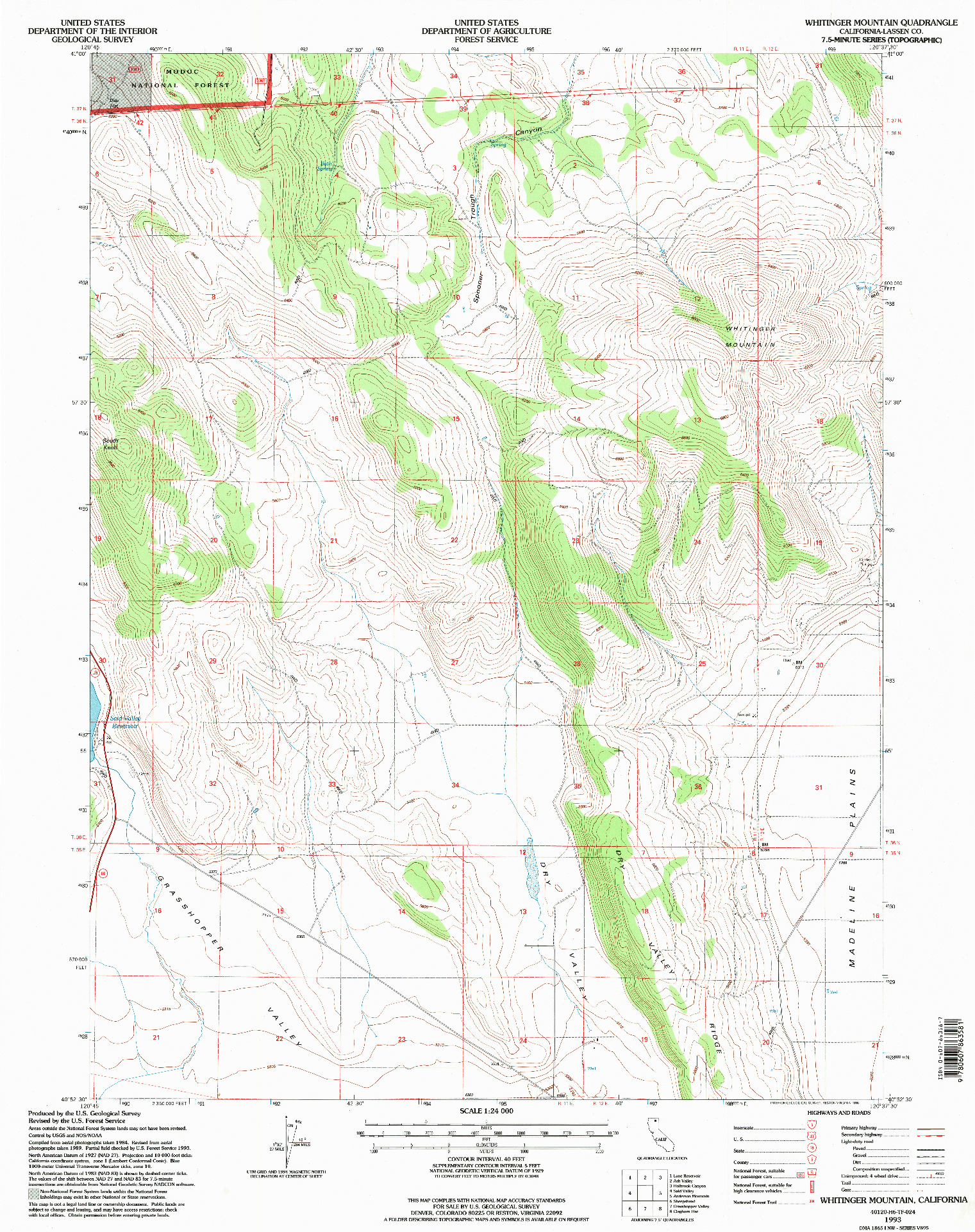 USGS 1:24000-SCALE QUADRANGLE FOR WHITINGER MOUNTAIN, CA 1993