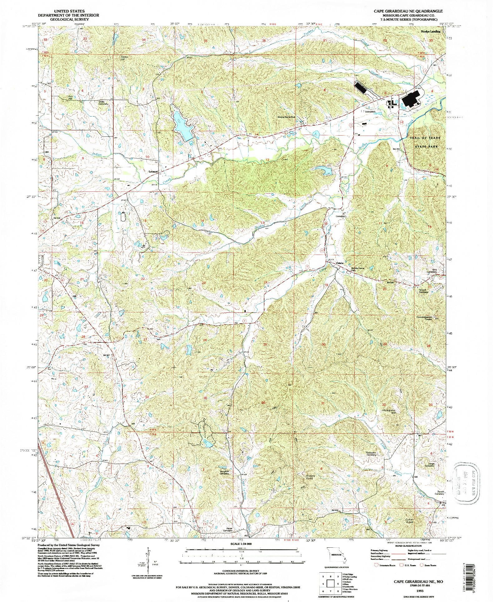 USGS 1:24000-SCALE QUADRANGLE FOR CAPE GIRARDEAU NE, MO 1993