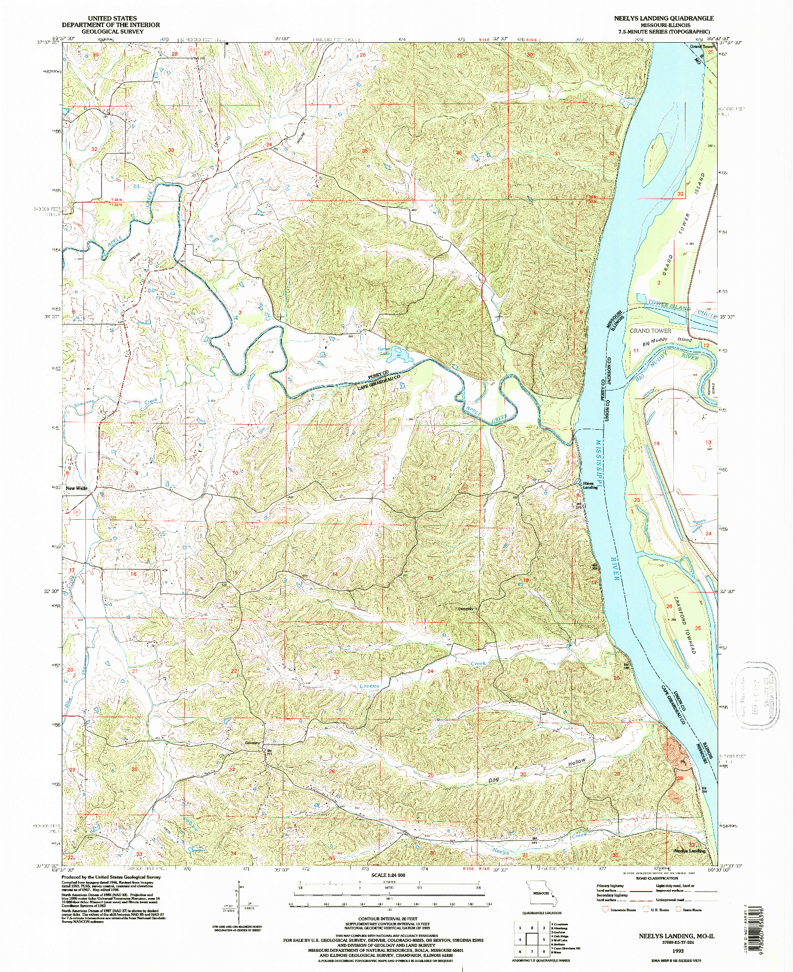 USGS 1:24000-SCALE QUADRANGLE FOR NEELYS LANDING, MO 1993