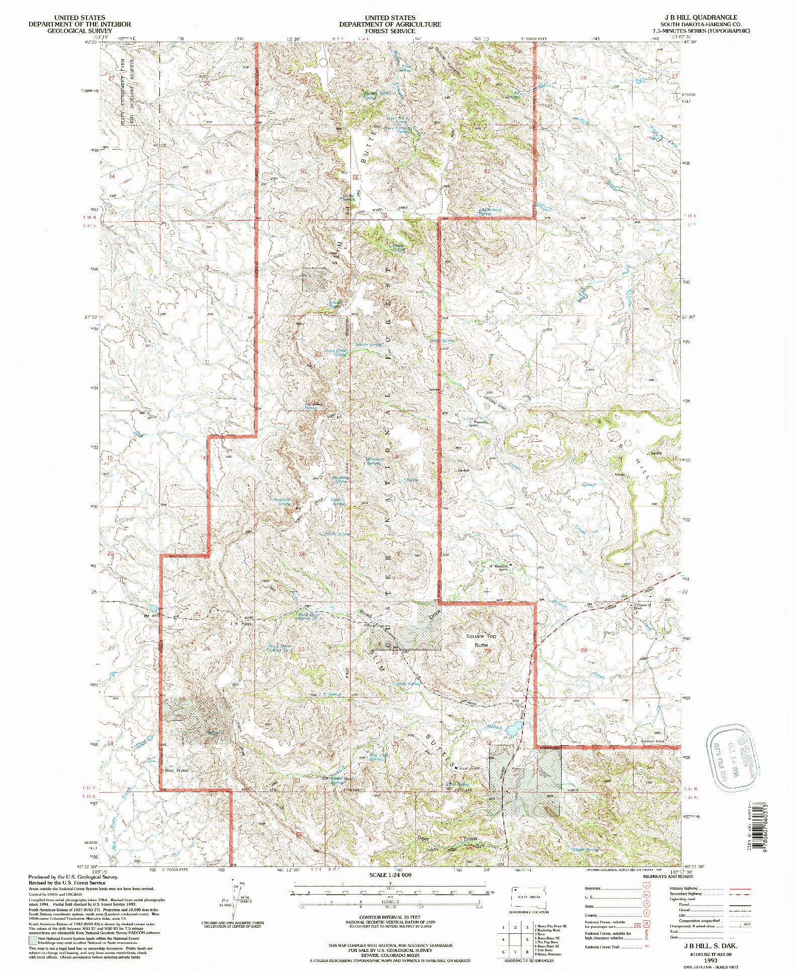 USGS 1:24000-SCALE QUADRANGLE FOR J B HILL, SD 1993