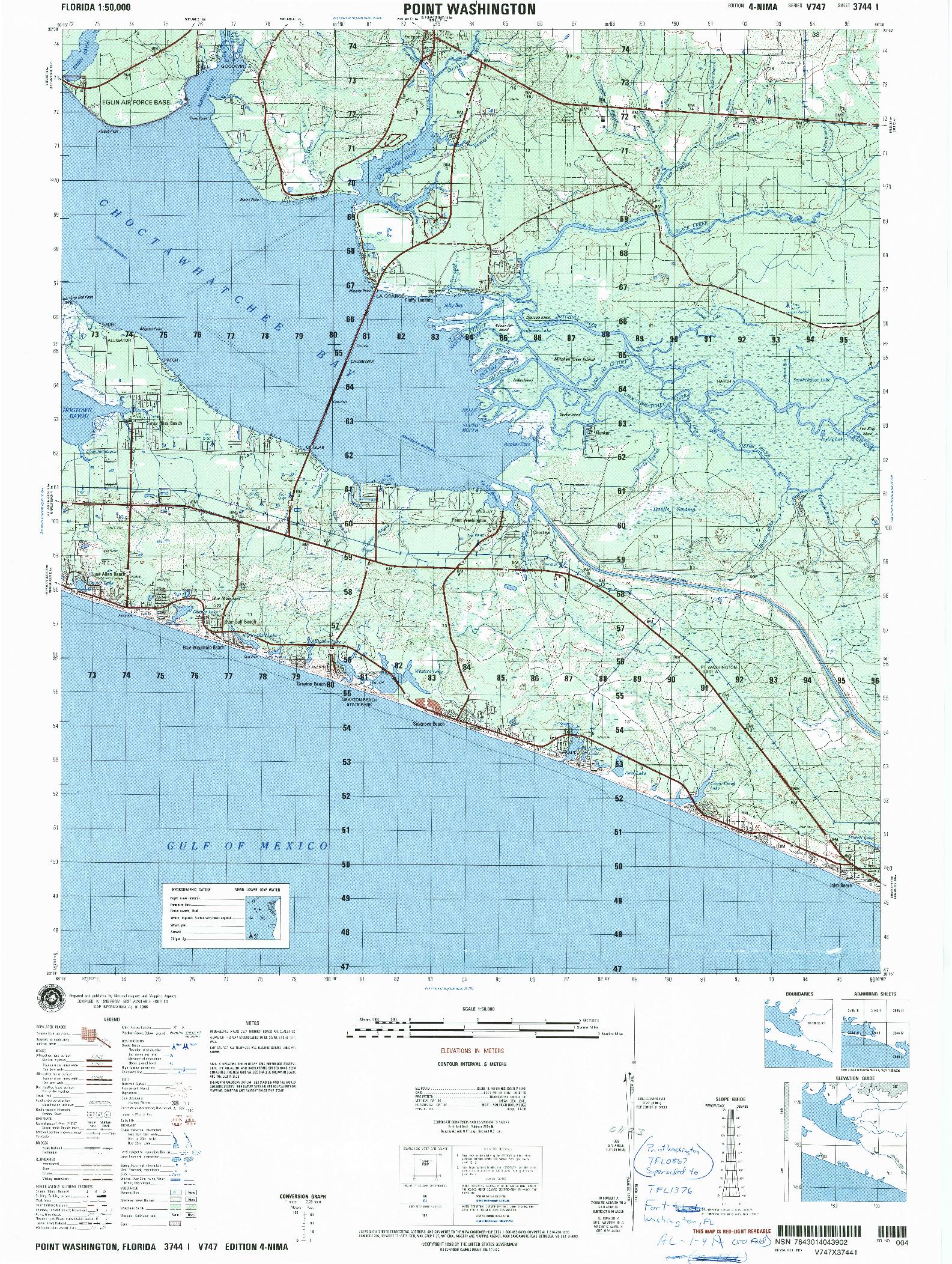 USGS 1:50000-SCALE QUADRANGLE FOR POINT WASHINGTON, FL 1996