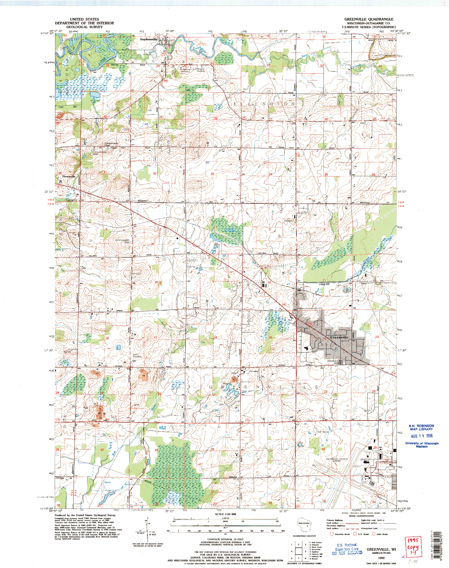 USGS 1:24000-SCALE QUADRANGLE FOR GREENVILLE, WI 1992