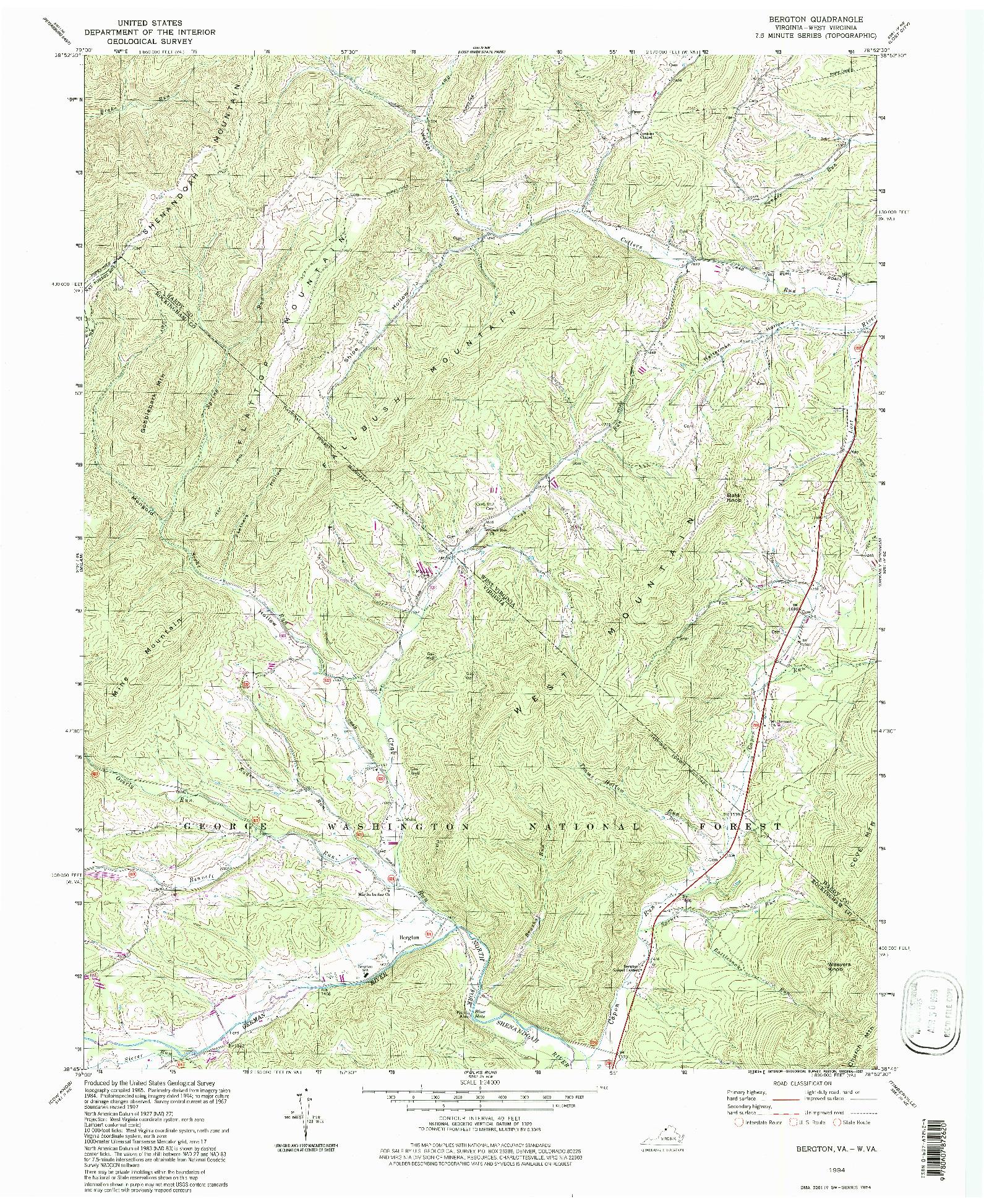USGS 1:24000-SCALE QUADRANGLE FOR BERGTON, VA 1994