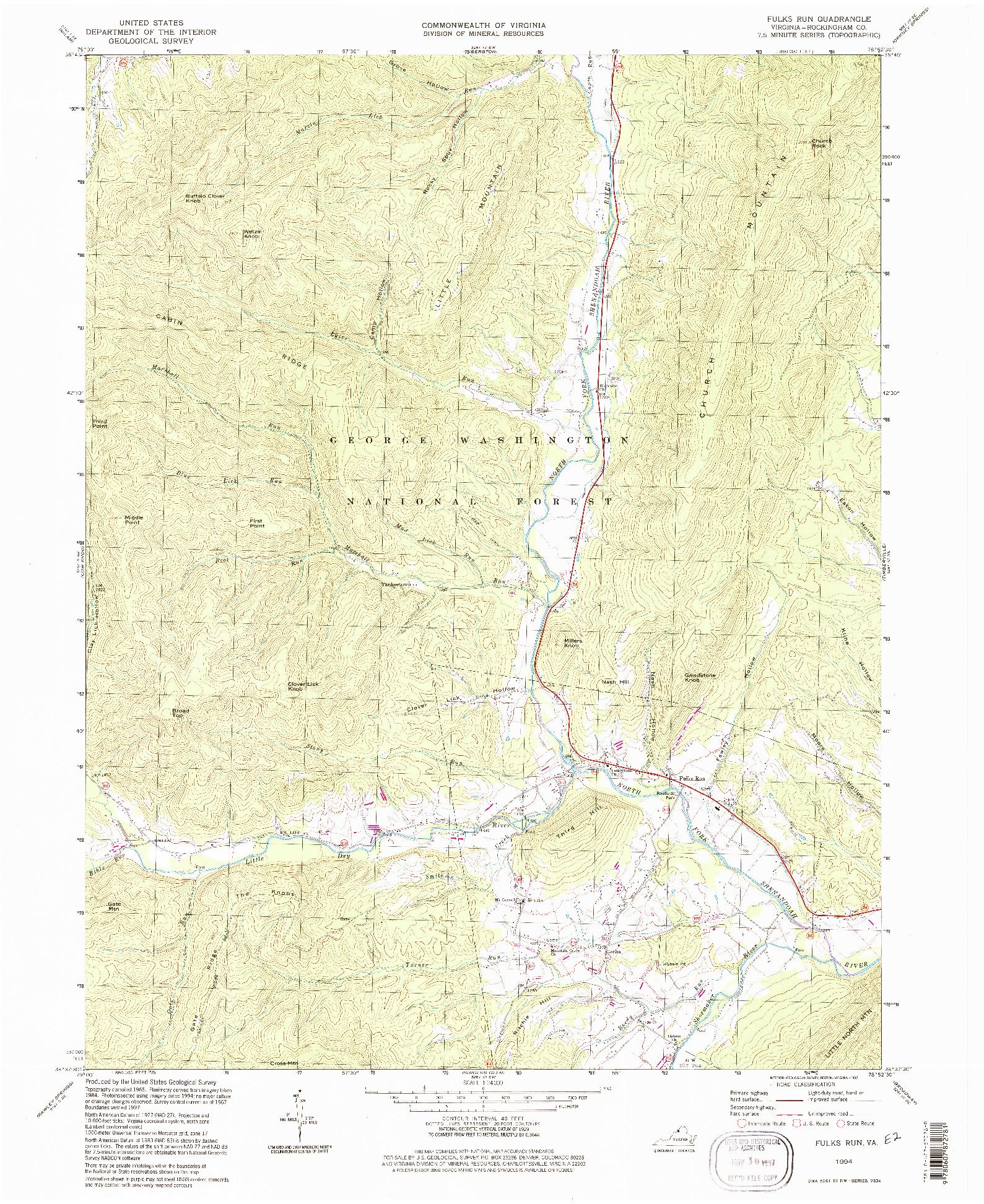 USGS 1:24000-SCALE QUADRANGLE FOR FULKS RUN, VA 1994