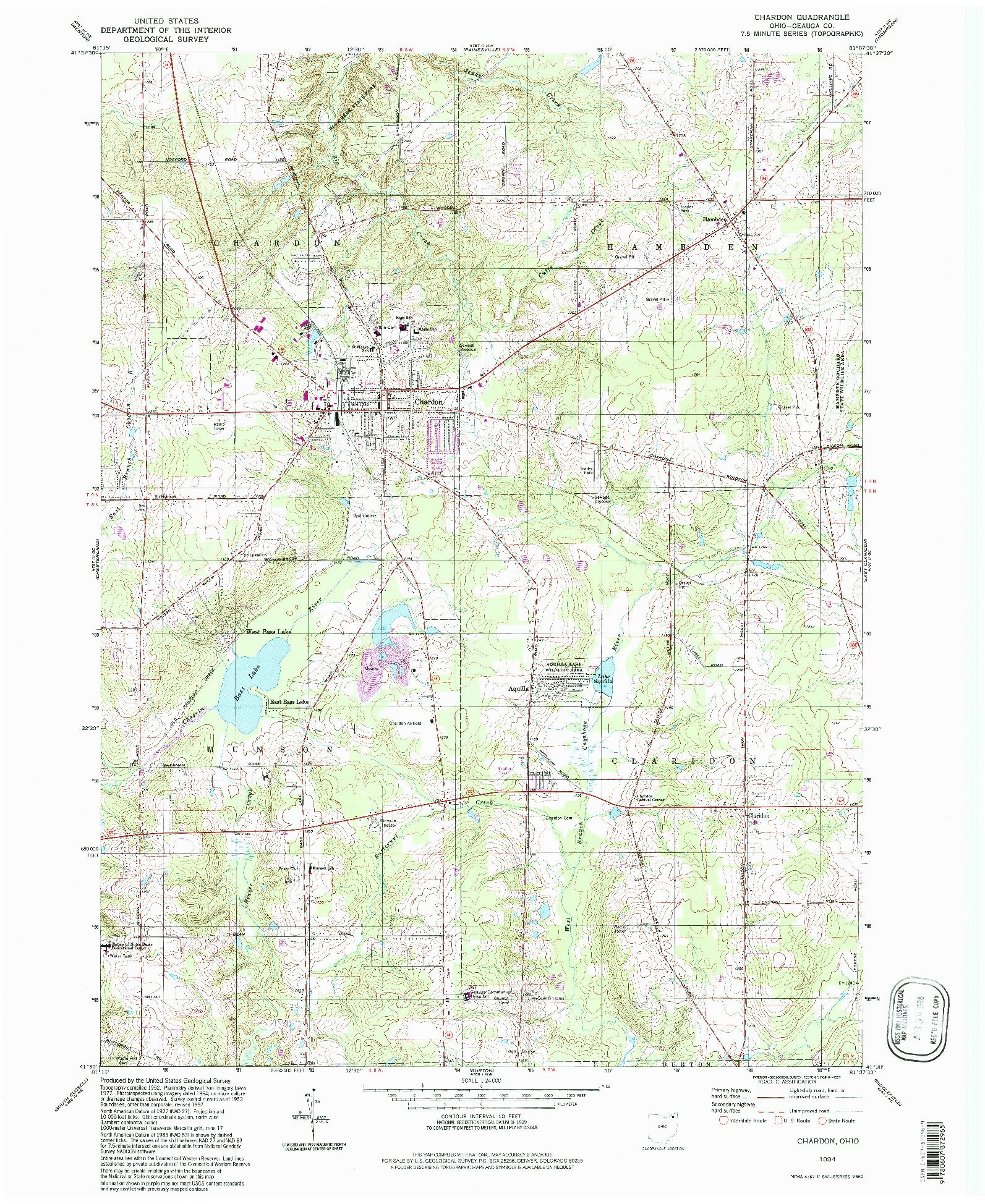 USGS 1:24000-SCALE QUADRANGLE FOR CHARDON, OH 1994