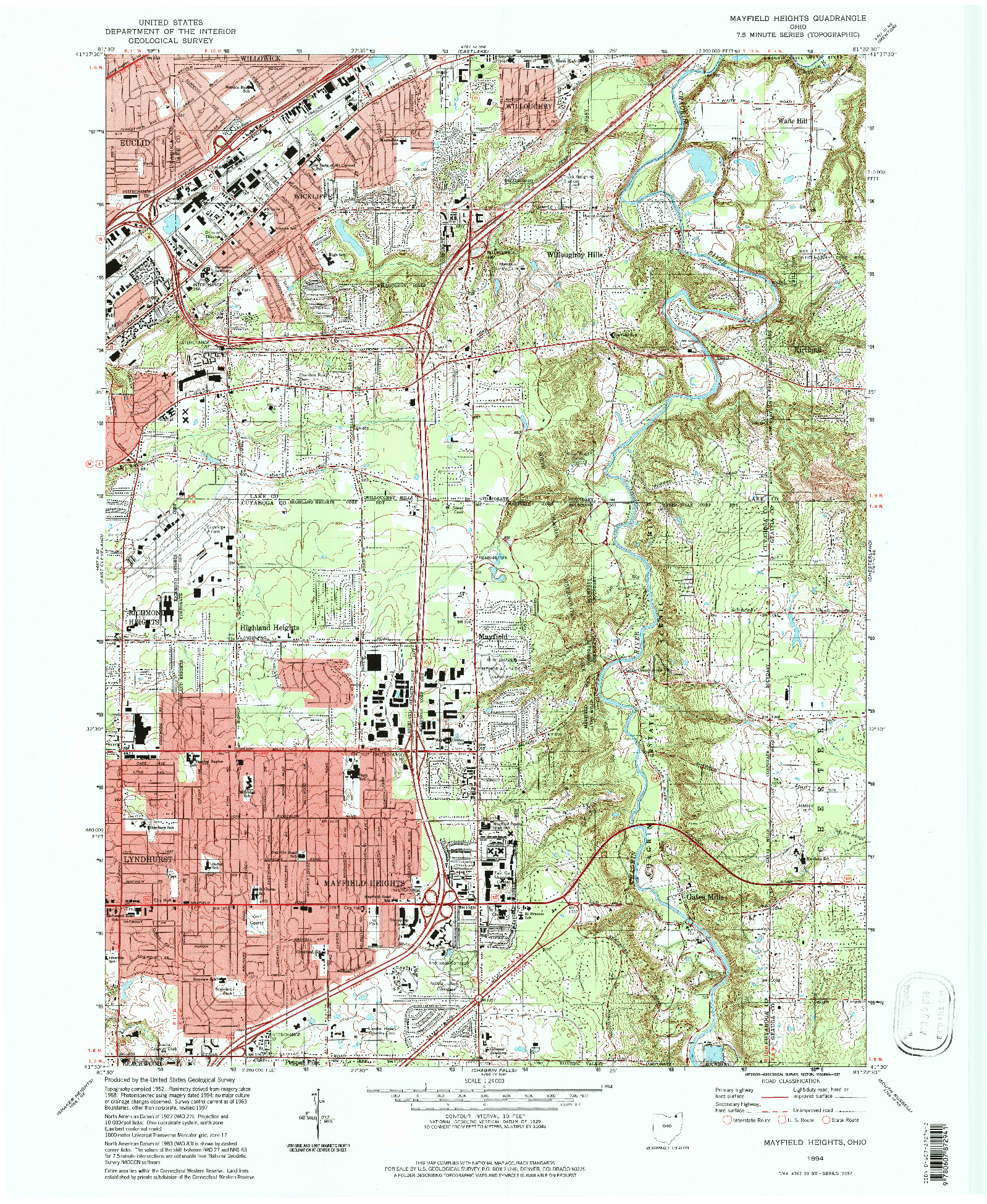 USGS 1:24000-SCALE QUADRANGLE FOR MAYFIELD HEIGHTS, OH 1994