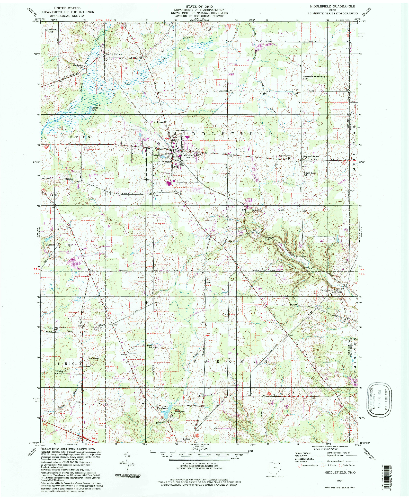 USGS 1:24000-SCALE QUADRANGLE FOR MIDDLEFIELD, OH 1994