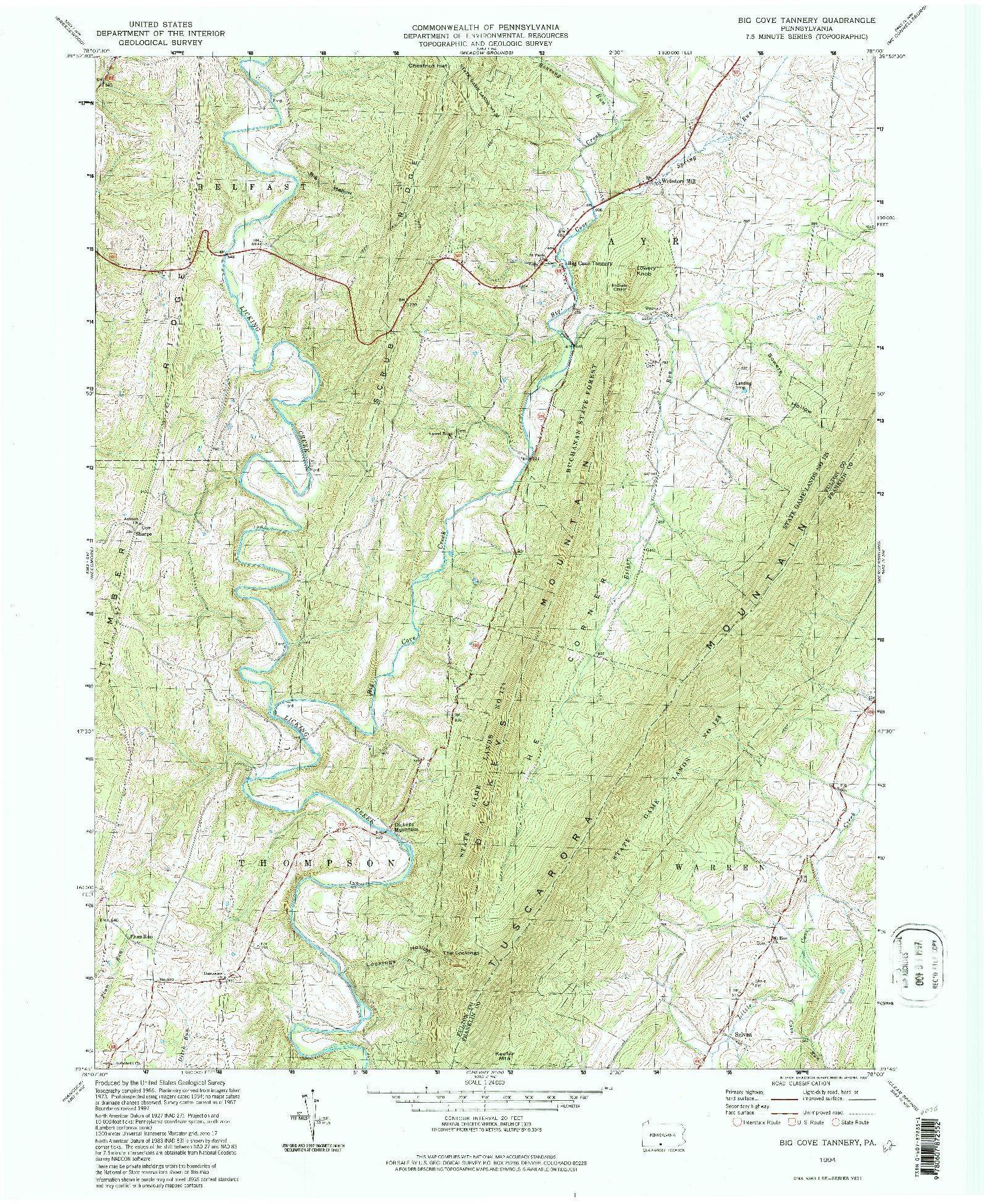 USGS 1:24000-SCALE QUADRANGLE FOR BIG COVE TANNERY, PA 1994
