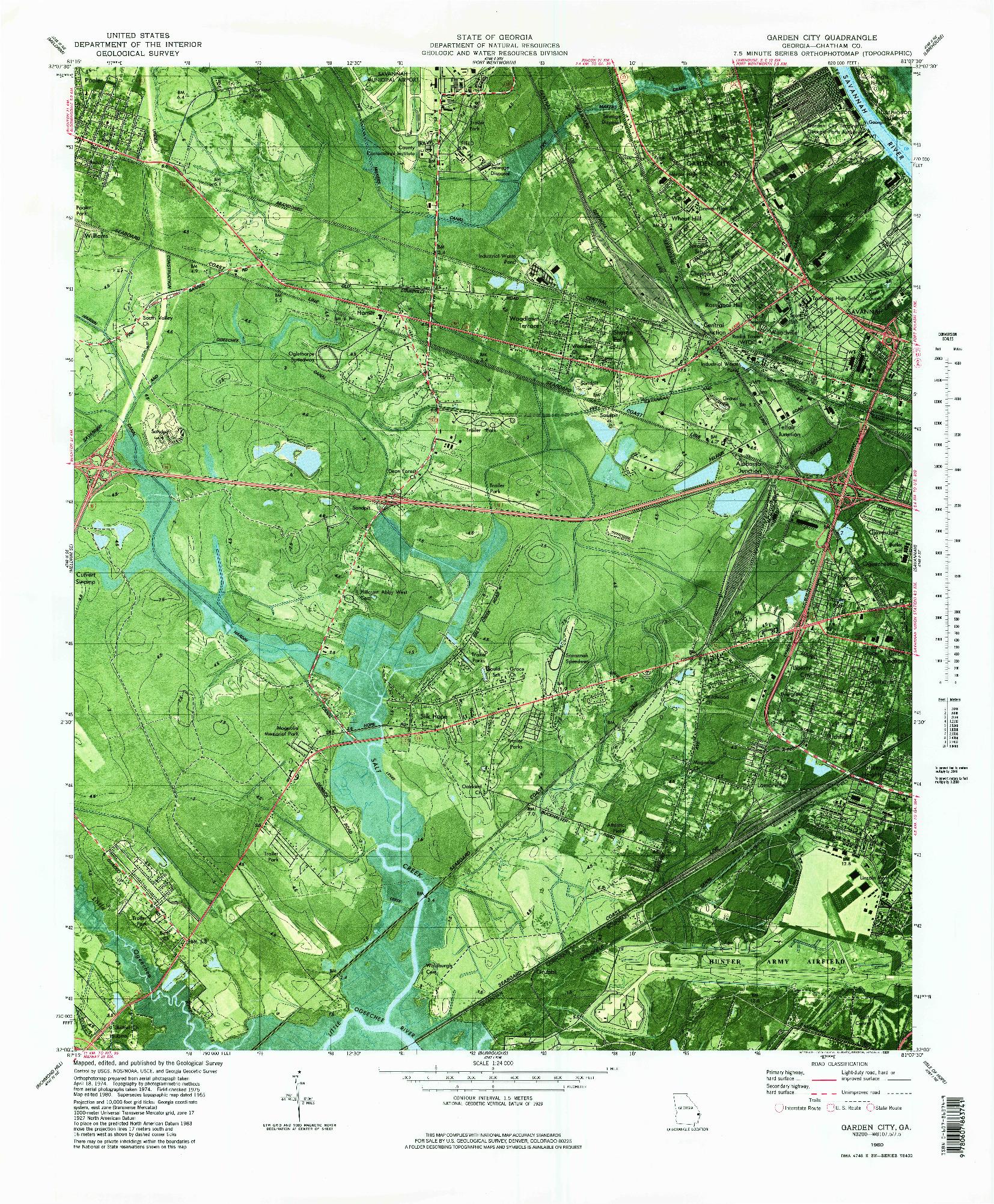 USGS 1:24000-SCALE QUADRANGLE FOR GARDEN CITY, GA 1980