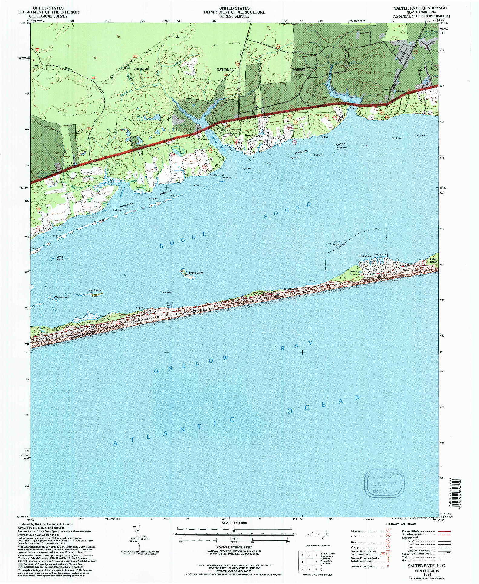 USGS 1:24000-SCALE QUADRANGLE FOR SALTER PATH, NC 1994