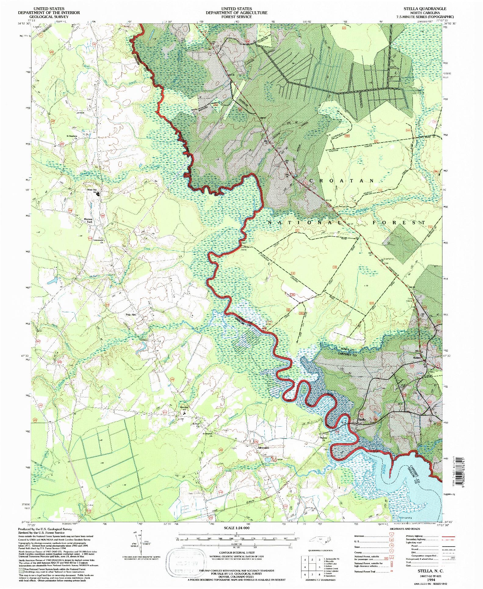 USGS 1:24000-SCALE QUADRANGLE FOR STELLA, NC 1994
