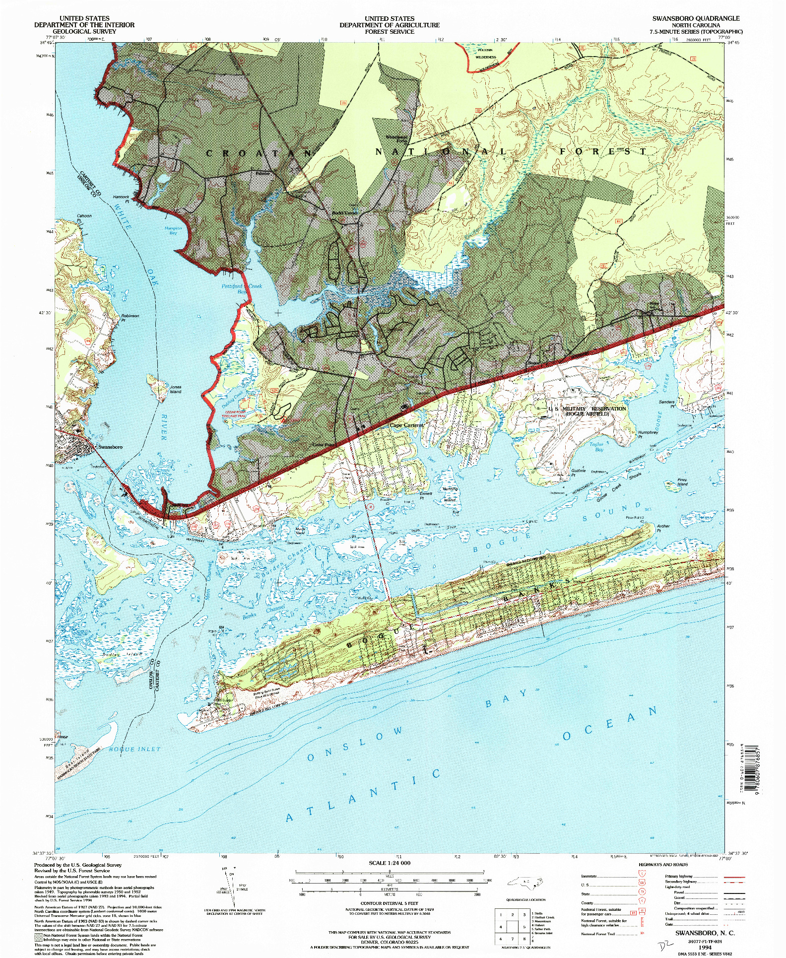 USGS 1:24000-SCALE QUADRANGLE FOR SWANSBORO, NC 1994