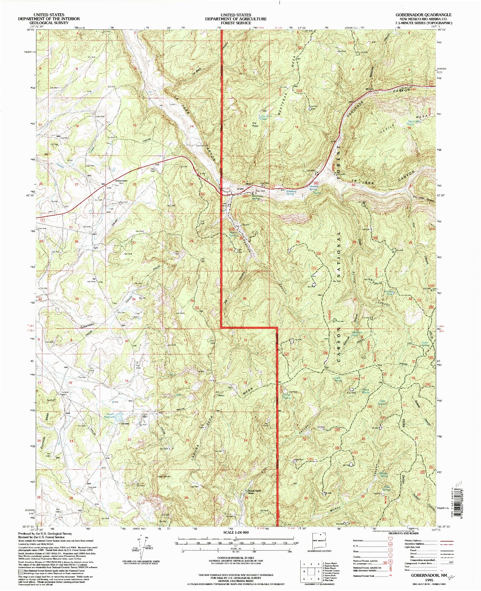USGS 1:24000-SCALE QUADRANGLE FOR GOBERNADOR, NM 1995