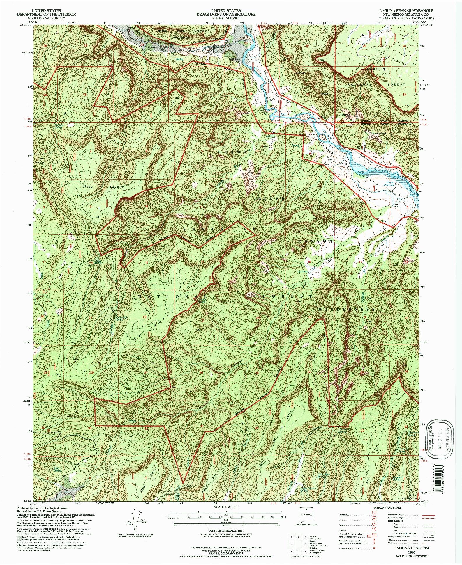 USGS 1:24000-SCALE QUADRANGLE FOR LAGUNA PEAK, NM 1995
