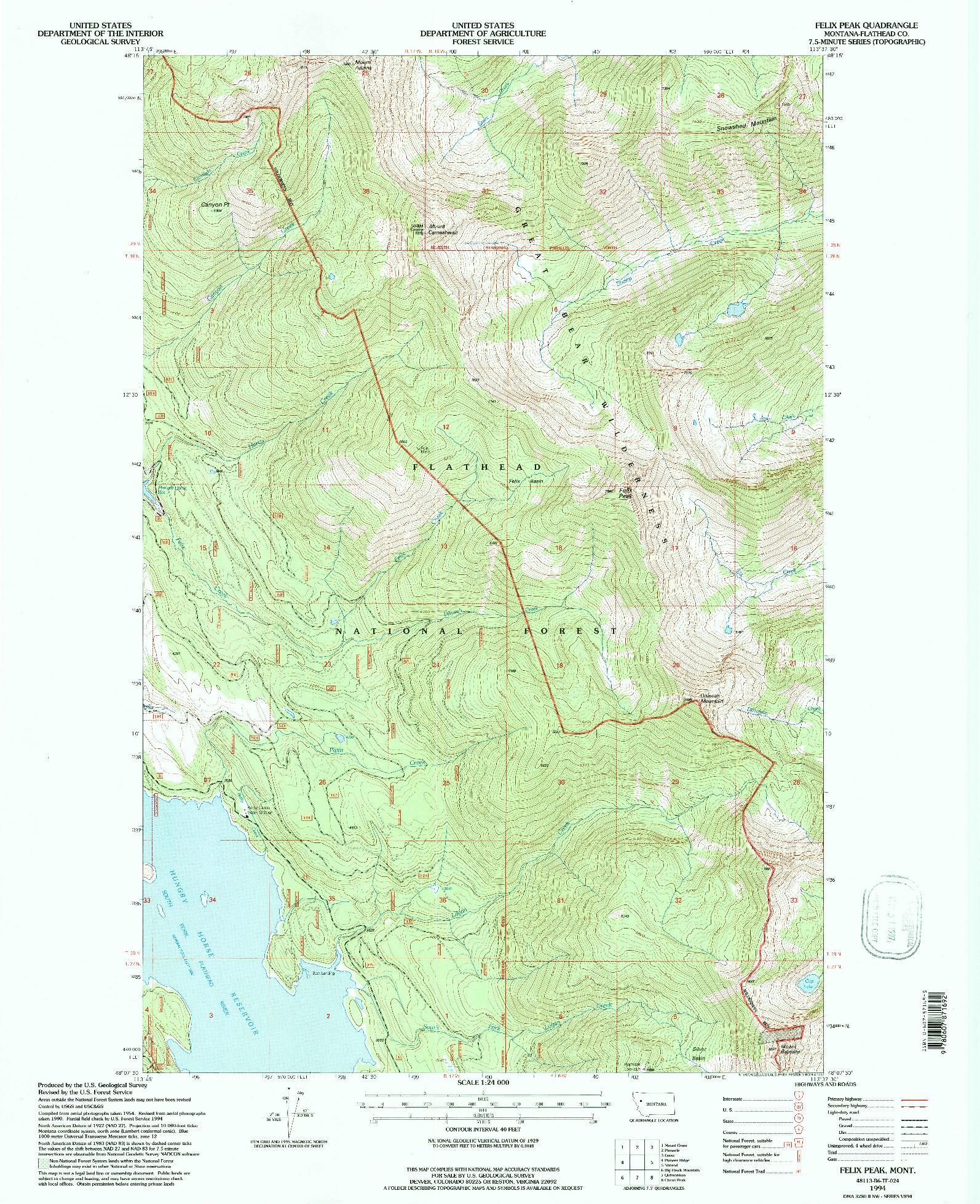 USGS 1:24000-SCALE QUADRANGLE FOR FELIX PEAK, MT 1994