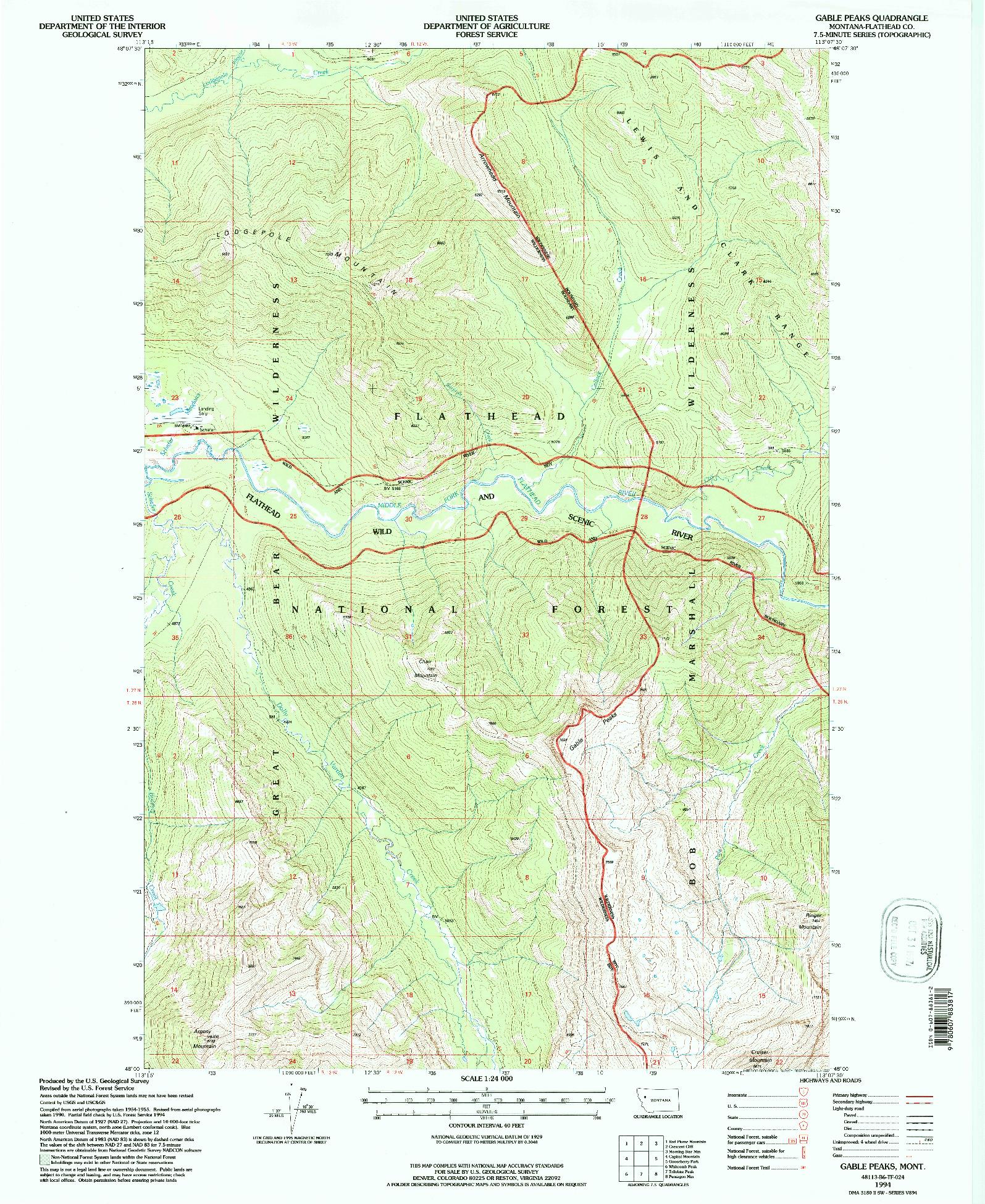 USGS 1:24000-SCALE QUADRANGLE FOR GABLE PEAKS, MT 1994