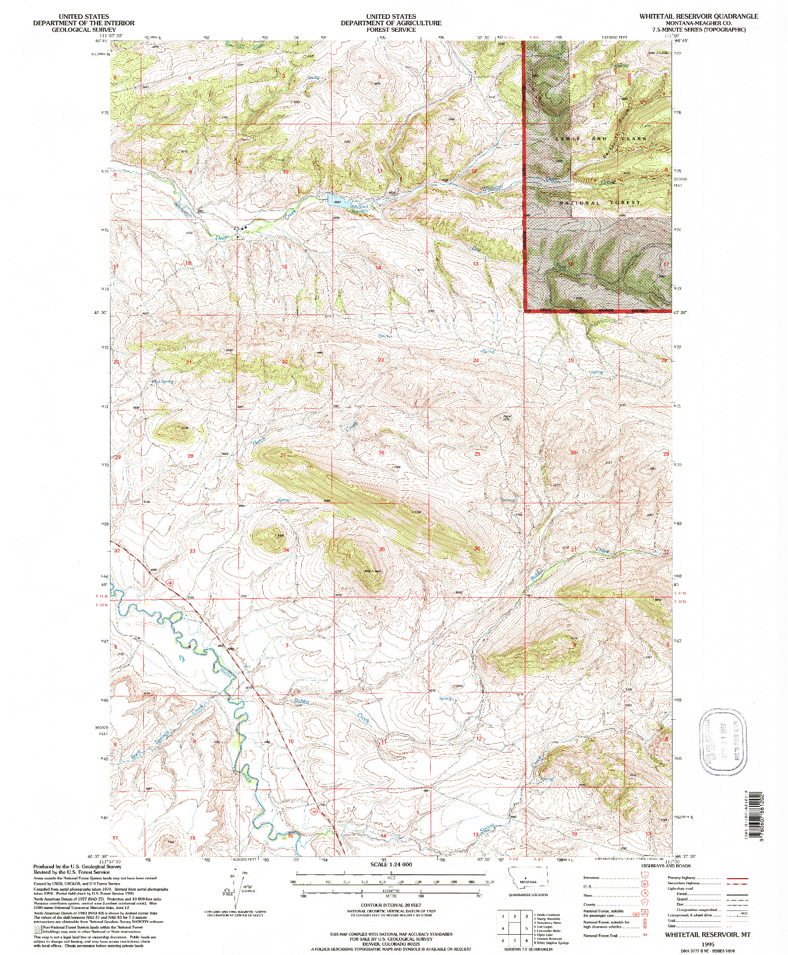 USGS 1:24000-SCALE QUADRANGLE FOR WHITETAIL RESERVOIR, MT 1995