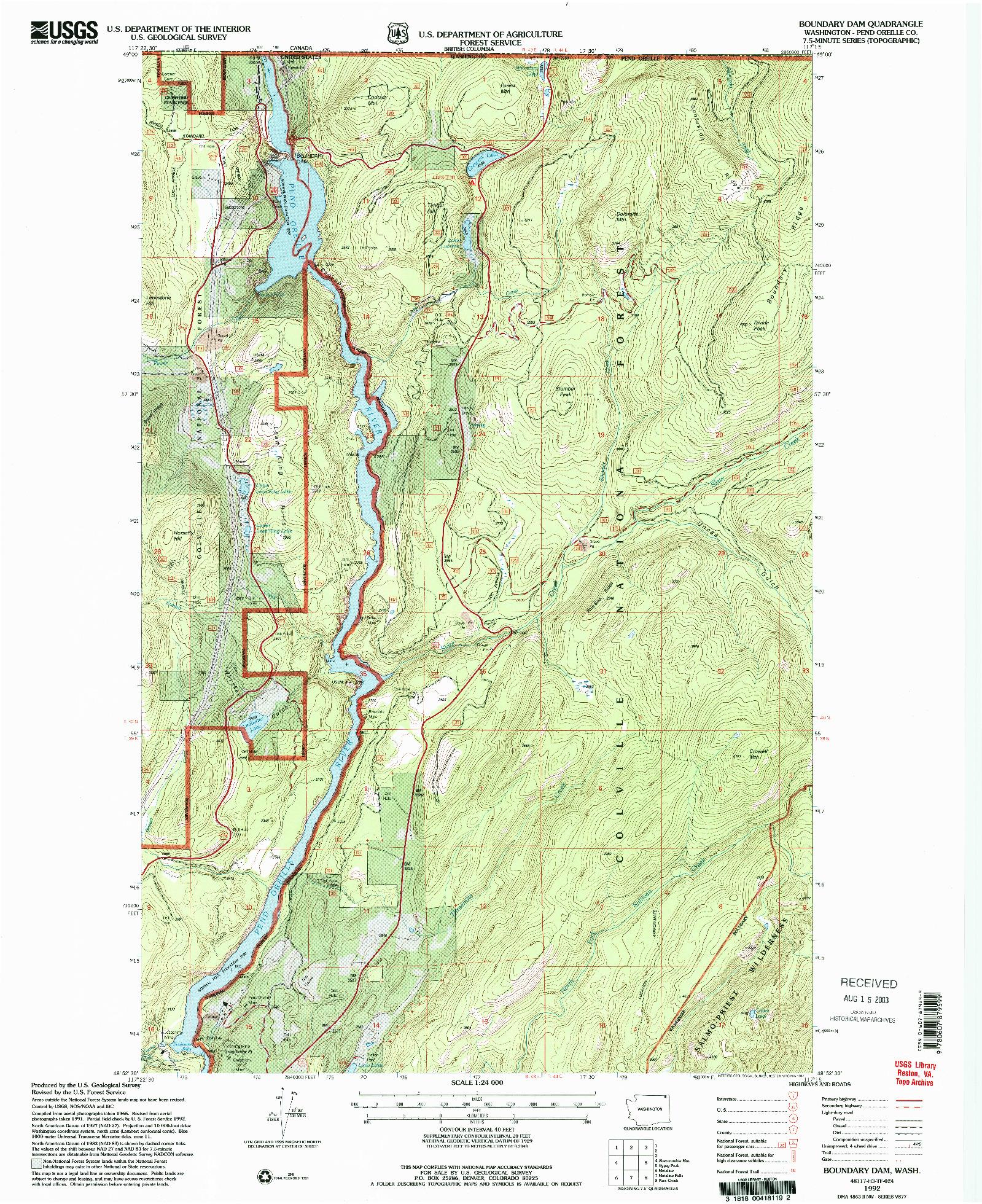USGS 1:24000-SCALE QUADRANGLE FOR BOUNDARY DAM, WA 1992