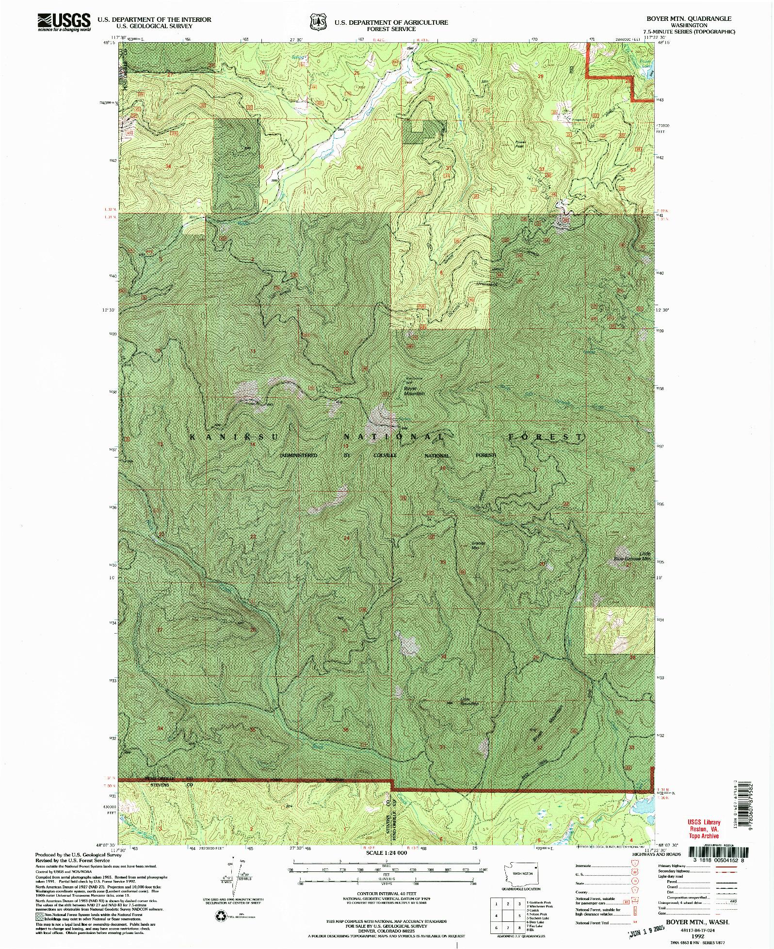 USGS 1:24000-SCALE QUADRANGLE FOR BOYER MTN, WA 1992