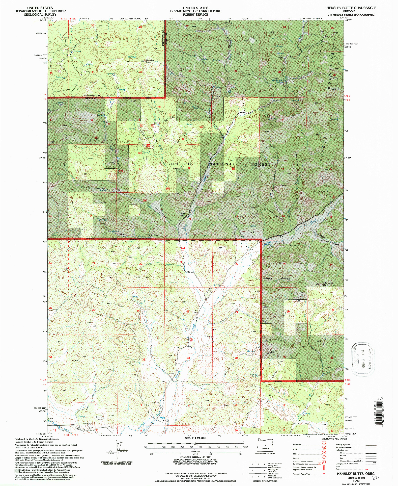 USGS 1:24000-SCALE QUADRANGLE FOR HENSLEY BUTTE, OR 1992