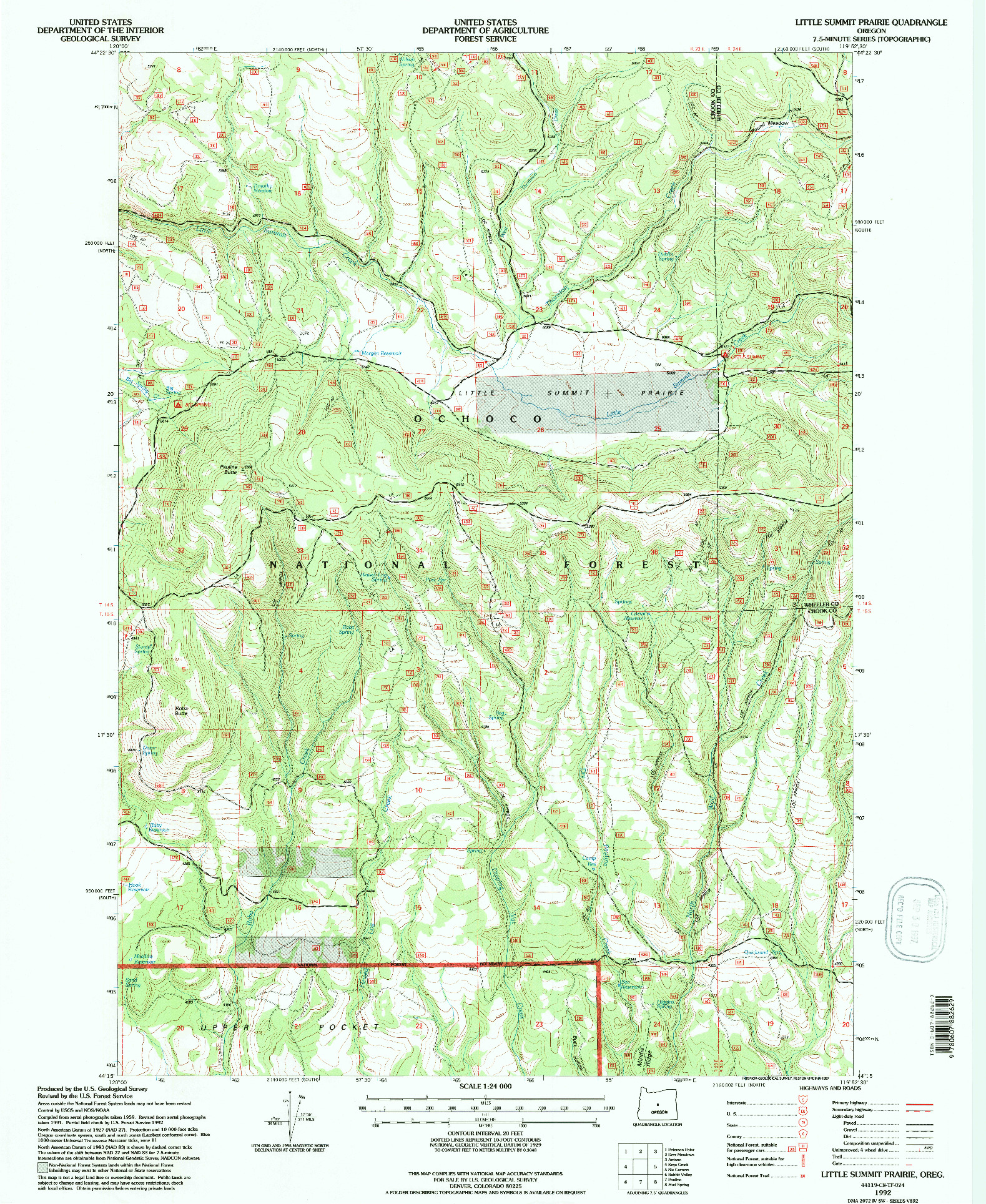 USGS 1:24000-SCALE QUADRANGLE FOR LITTLE SUMMIT PRAIRIE, OR 1992