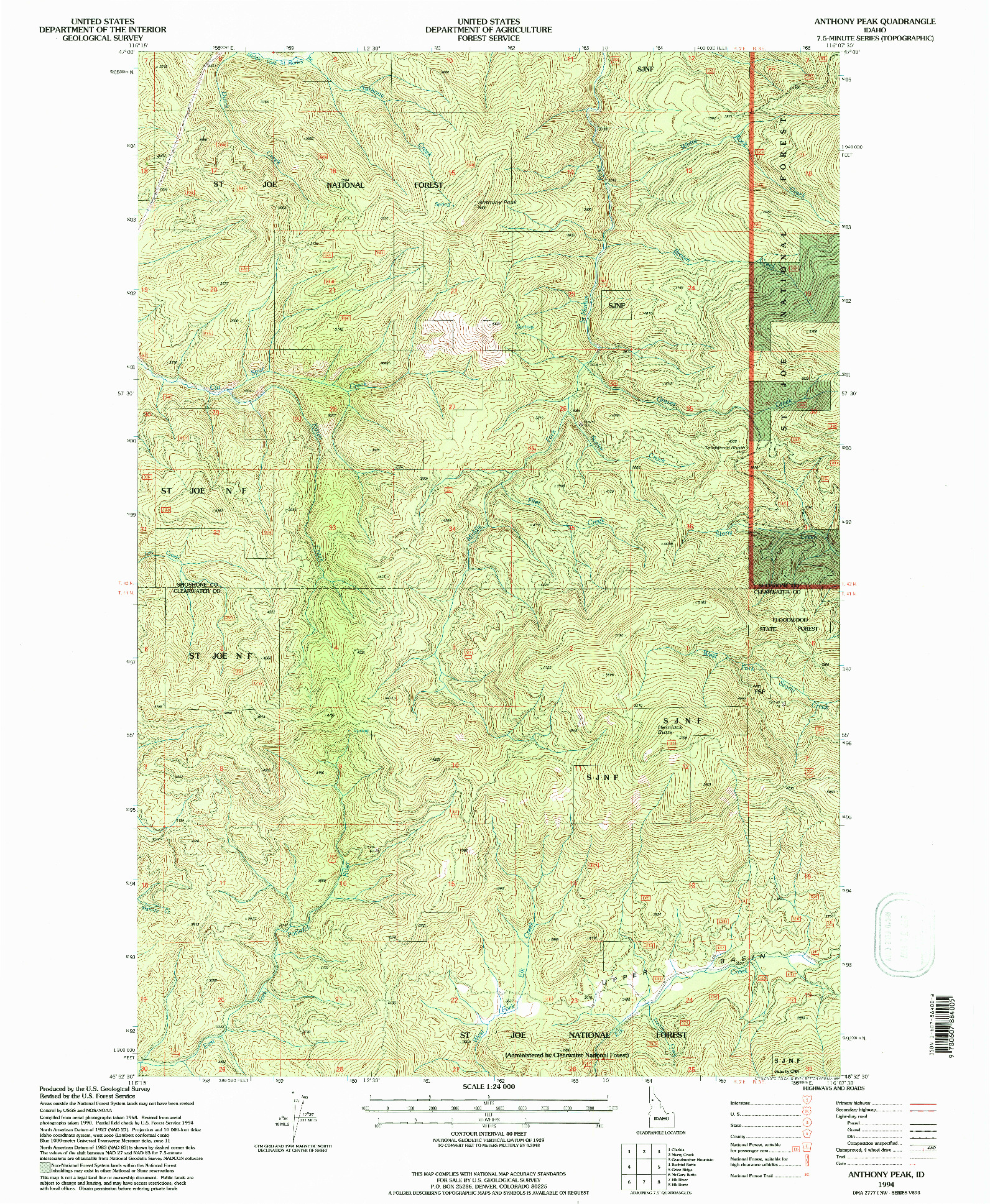 USGS 1:24000-SCALE QUADRANGLE FOR ANTHONY PEAK, ID 1994