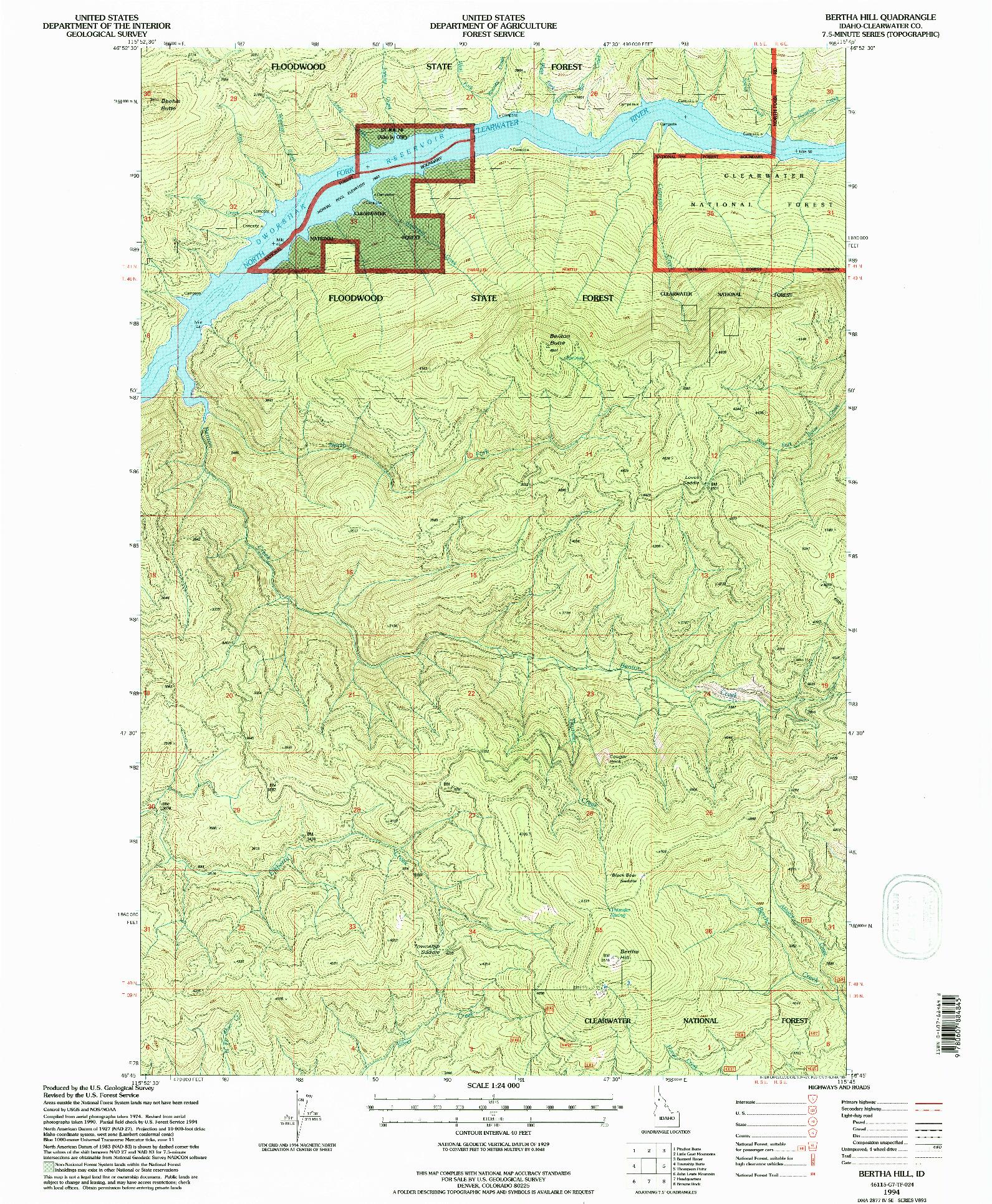 USGS 1:24000-SCALE QUADRANGLE FOR BERTHA HILL, ID 1994
