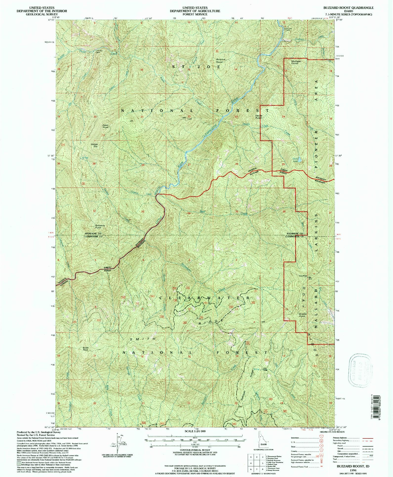 USGS 1:24000-SCALE QUADRANGLE FOR BUZZARD ROOST, ID 1994