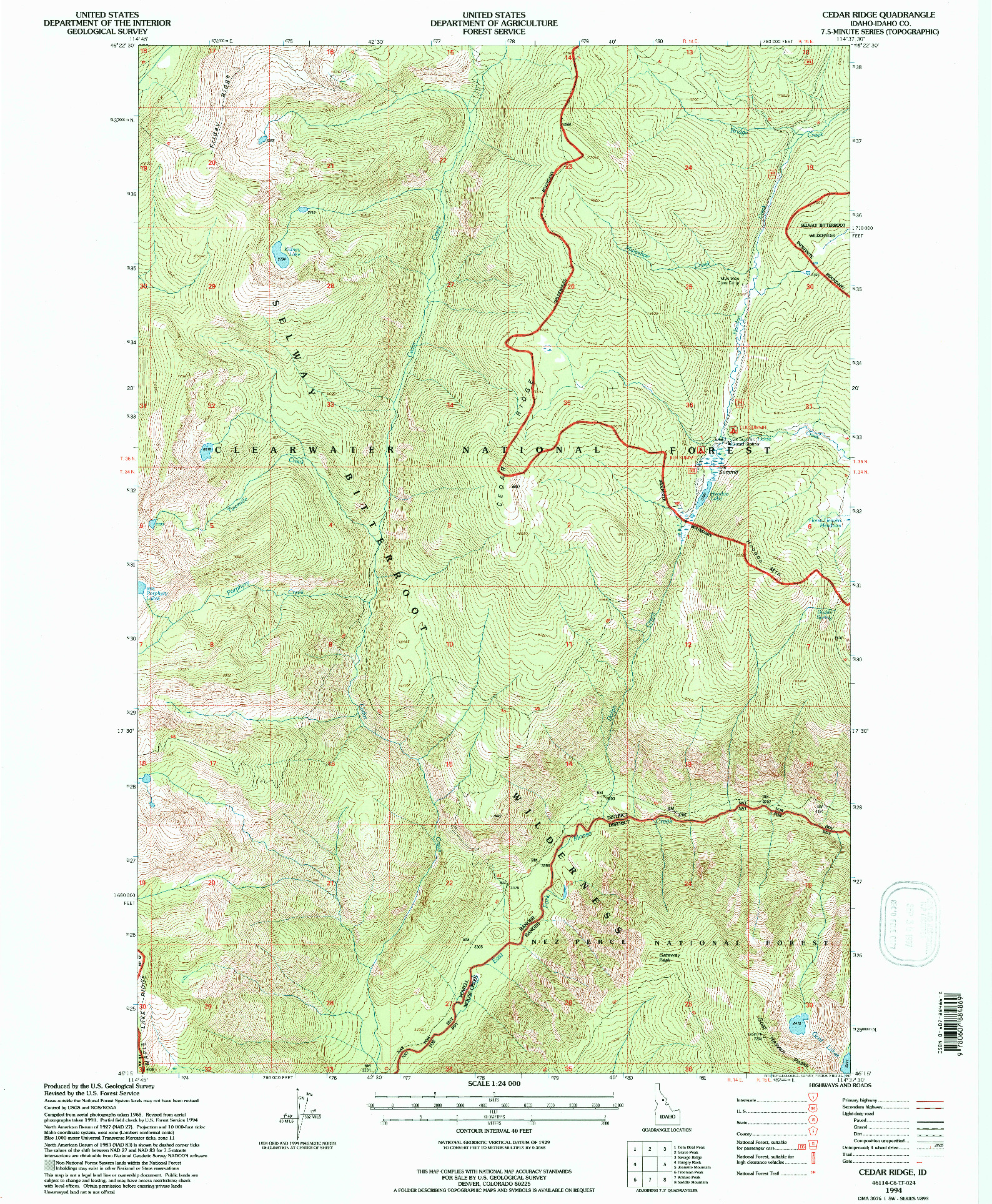 USGS 1:24000-SCALE QUADRANGLE FOR CEDAR RIDGE, ID 1994
