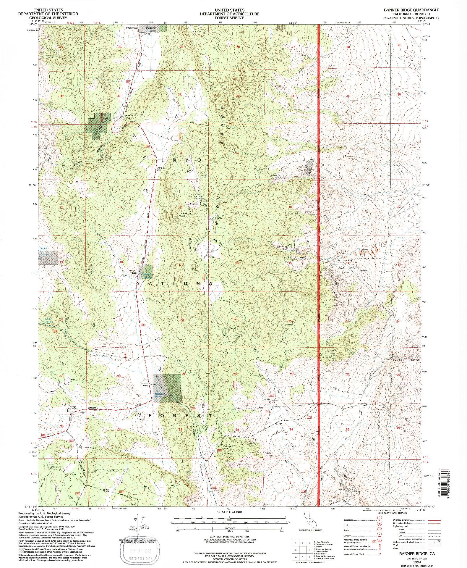 USGS 1:24000-SCALE QUADRANGLE FOR BANNER RIDGE, CA 1994