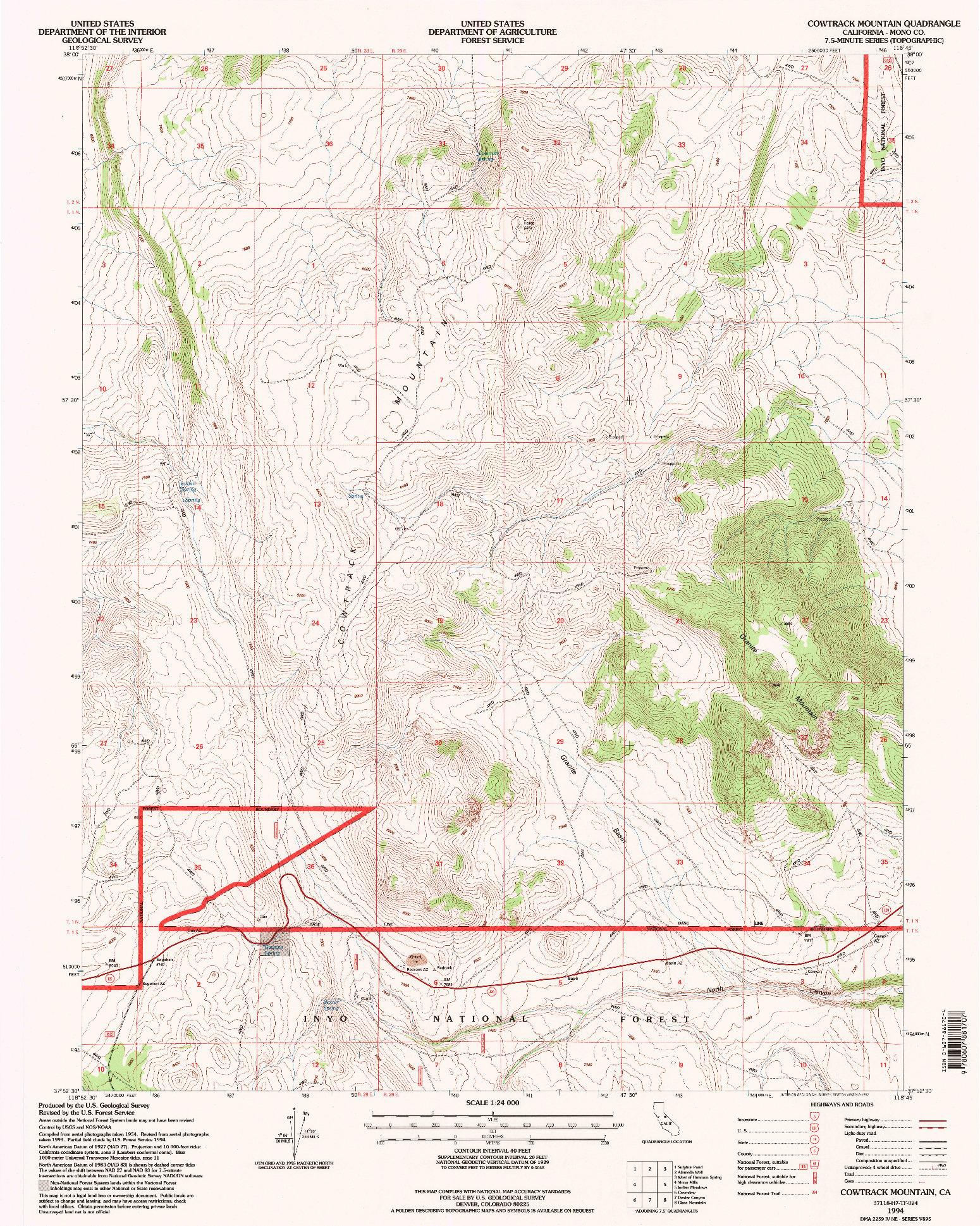 USGS 1:24000-SCALE QUADRANGLE FOR COWTRACK MOUNTAIN, CA 1994