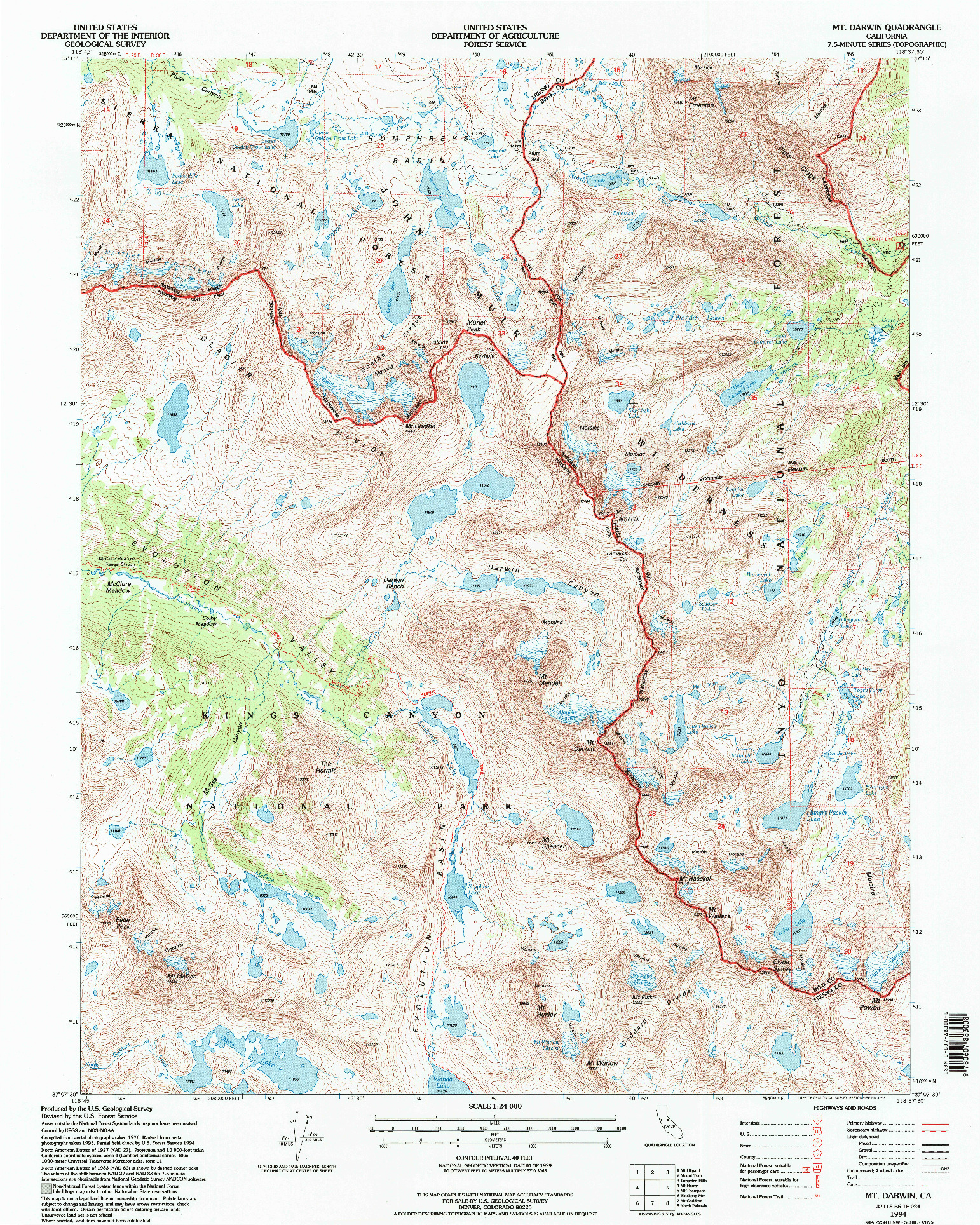 USGS 1:24000-SCALE QUADRANGLE FOR MT. DARWIN, CA 1994