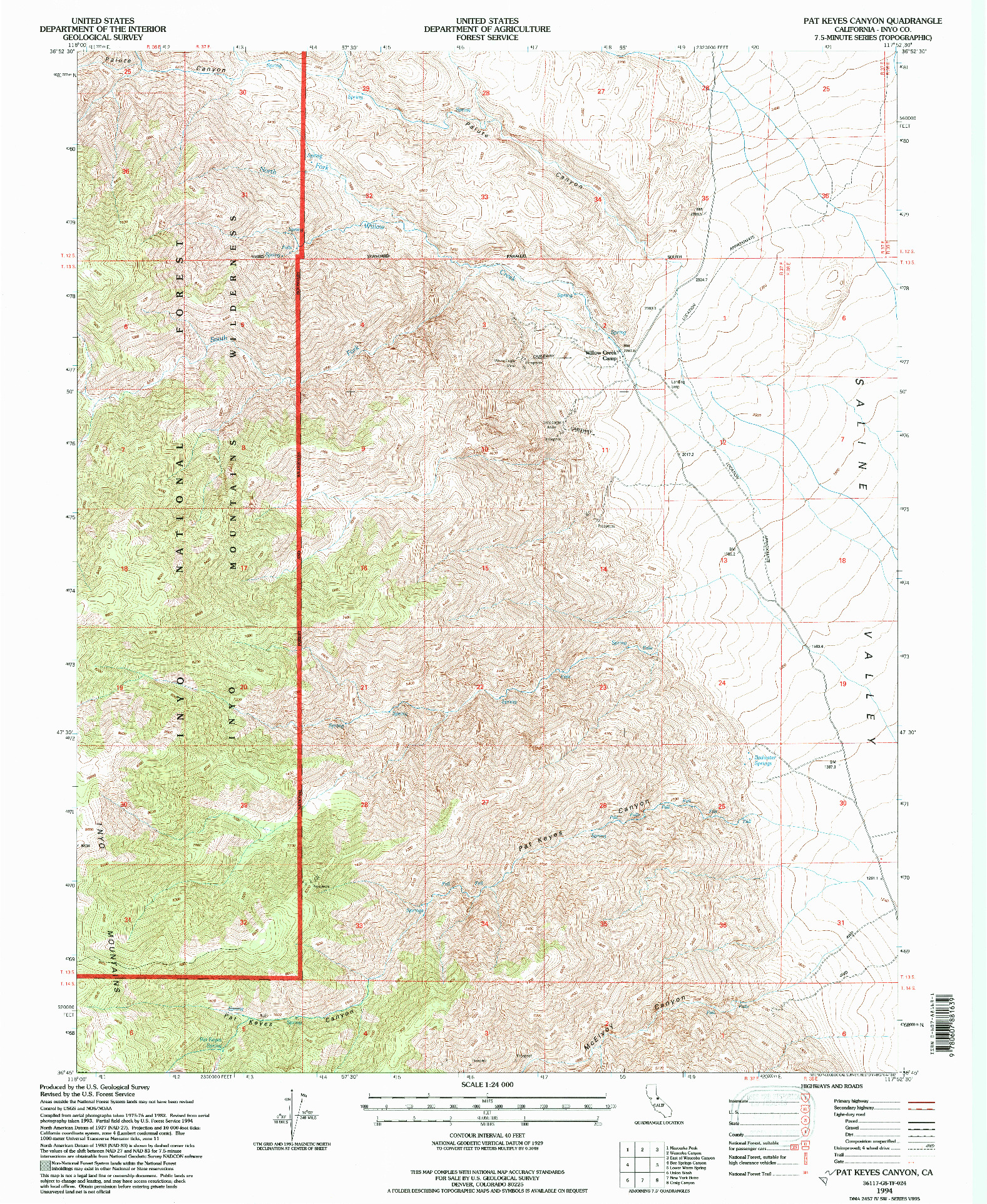 USGS 1:24000-SCALE QUADRANGLE FOR PAT KEYES CANYON, CA 1994