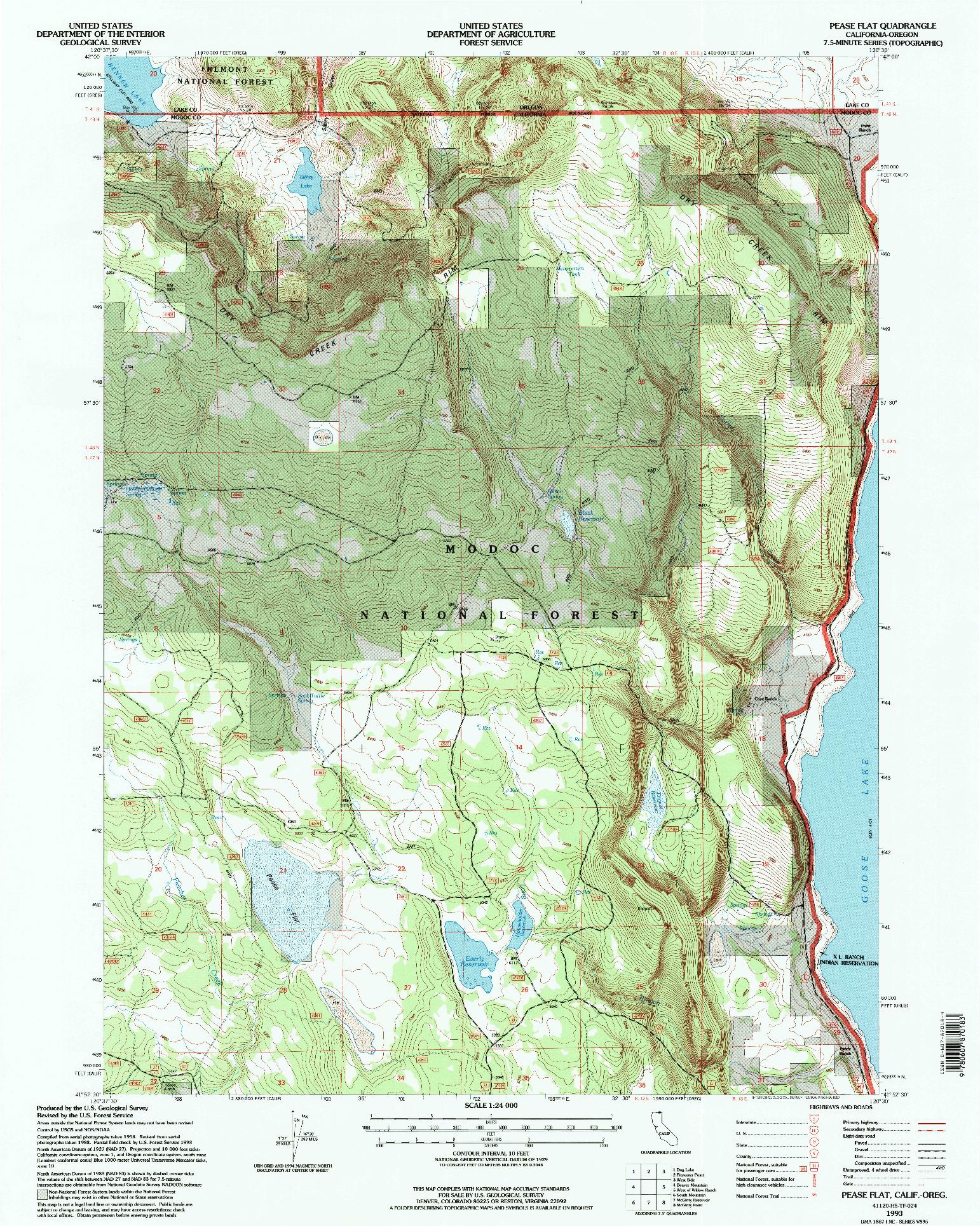 USGS 1:24000-SCALE QUADRANGLE FOR PEASE FLAT, CA 1993