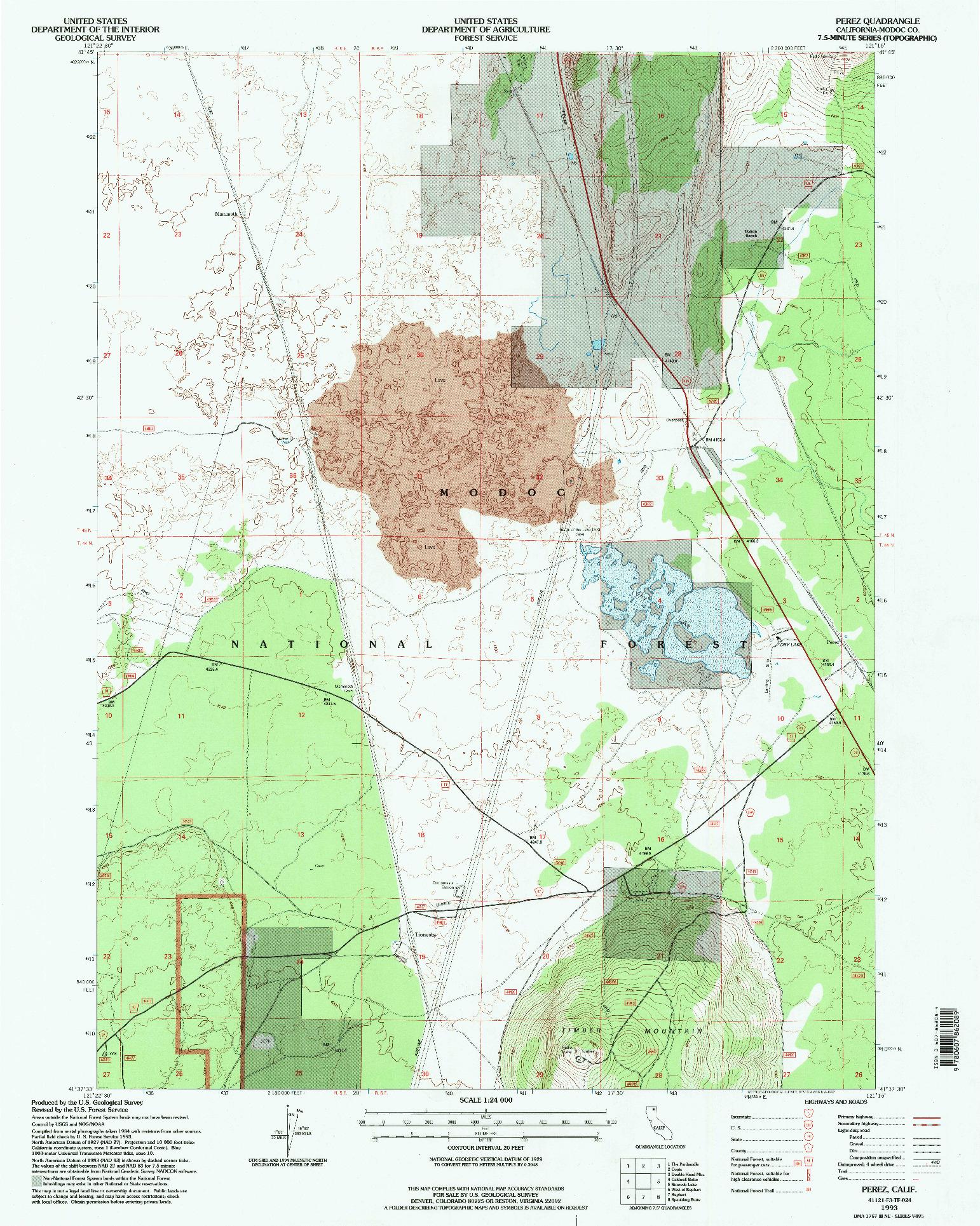 USGS 1:24000-SCALE QUADRANGLE FOR PEREZ, CA 1993