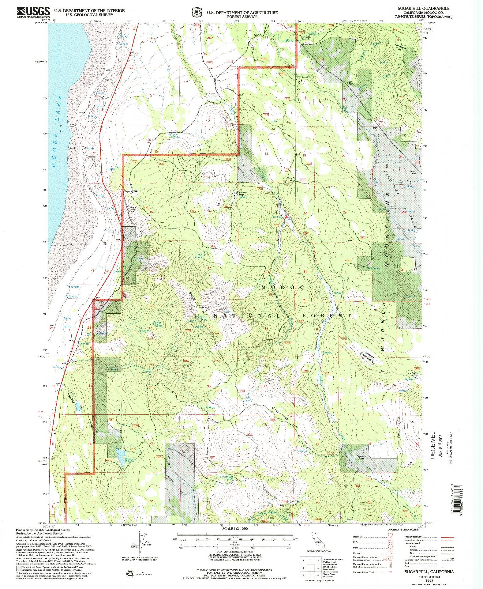 USGS 1:24000-SCALE QUADRANGLE FOR SUGAR HILL, CA 1993