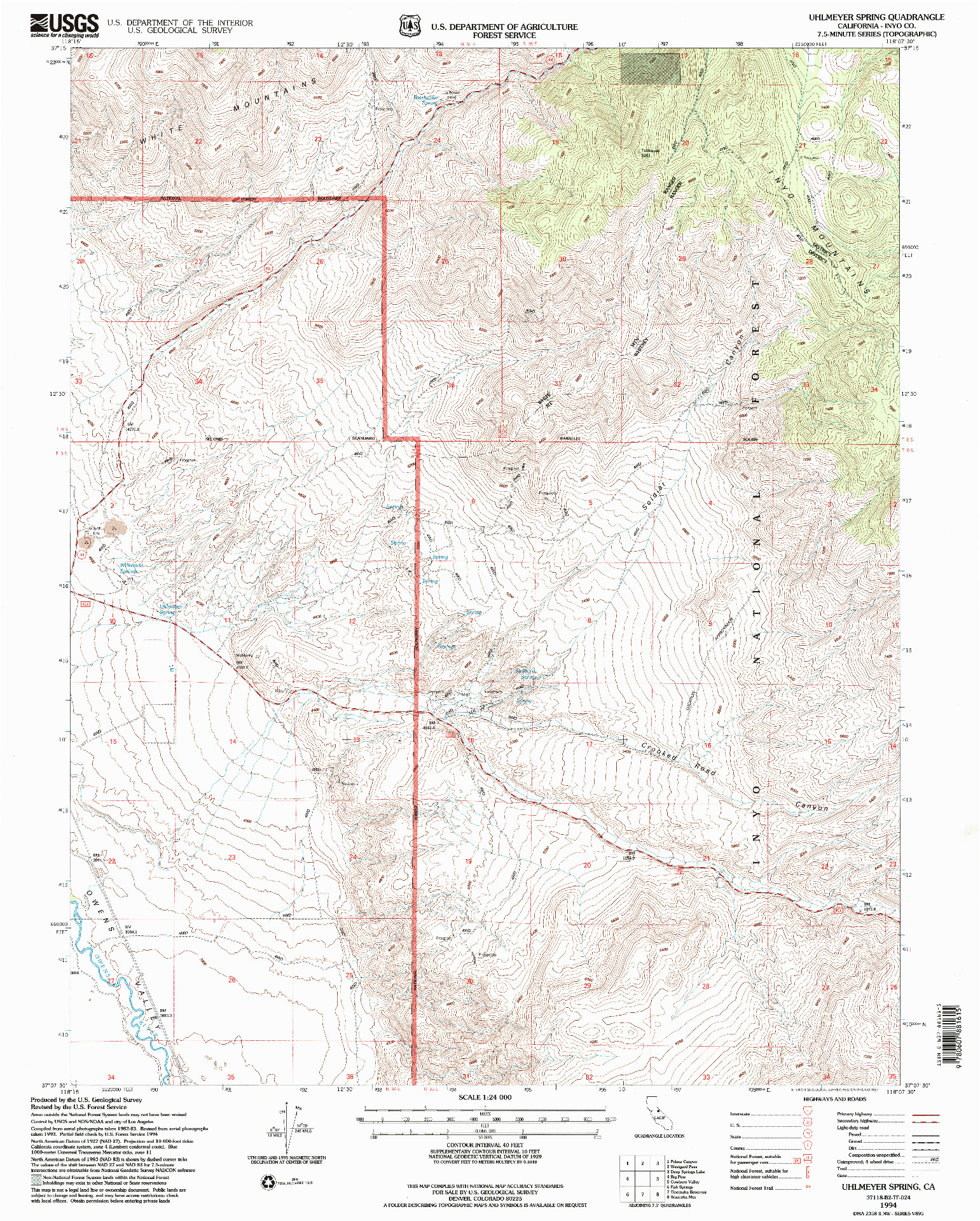 USGS 1:24000-SCALE QUADRANGLE FOR UHLMEYER SPRING, CA 1994