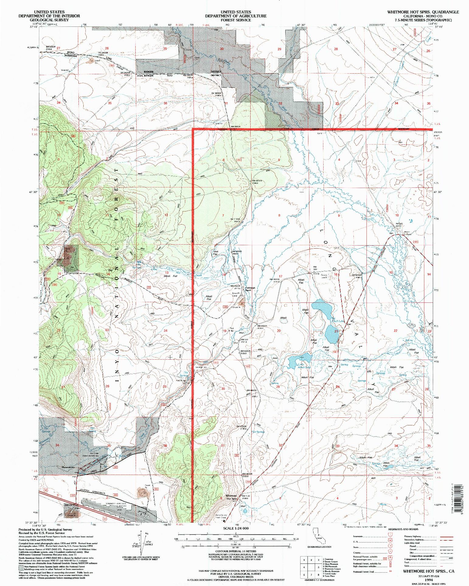 USGS 1:24000-SCALE QUADRANGLE FOR WHITMORE HOT SPRS, CA 1994