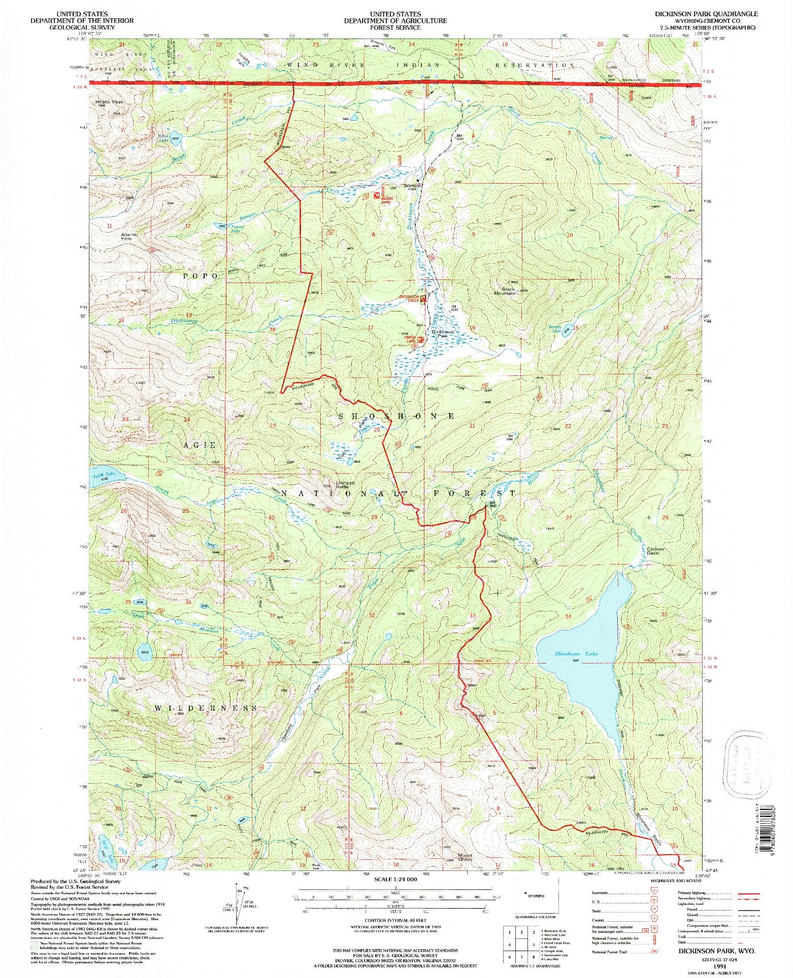 USGS 1:24000-SCALE QUADRANGLE FOR DICKINSON PARK, WY 1991