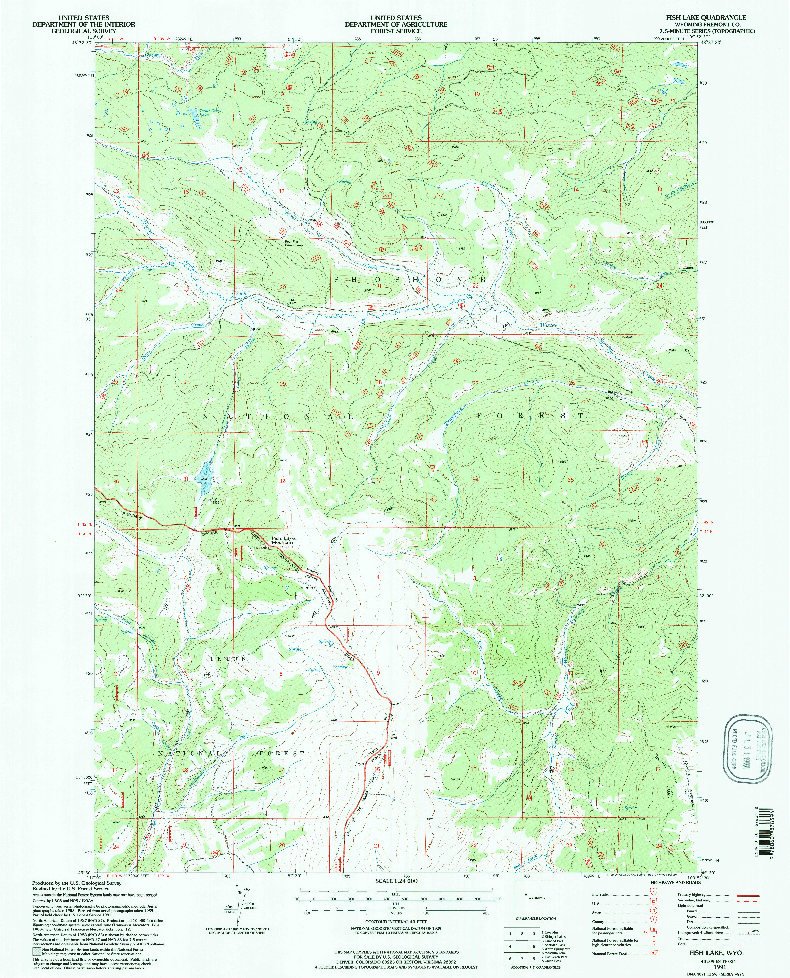 USGS 1:24000-SCALE QUADRANGLE FOR FISH LAKE, WY 1991